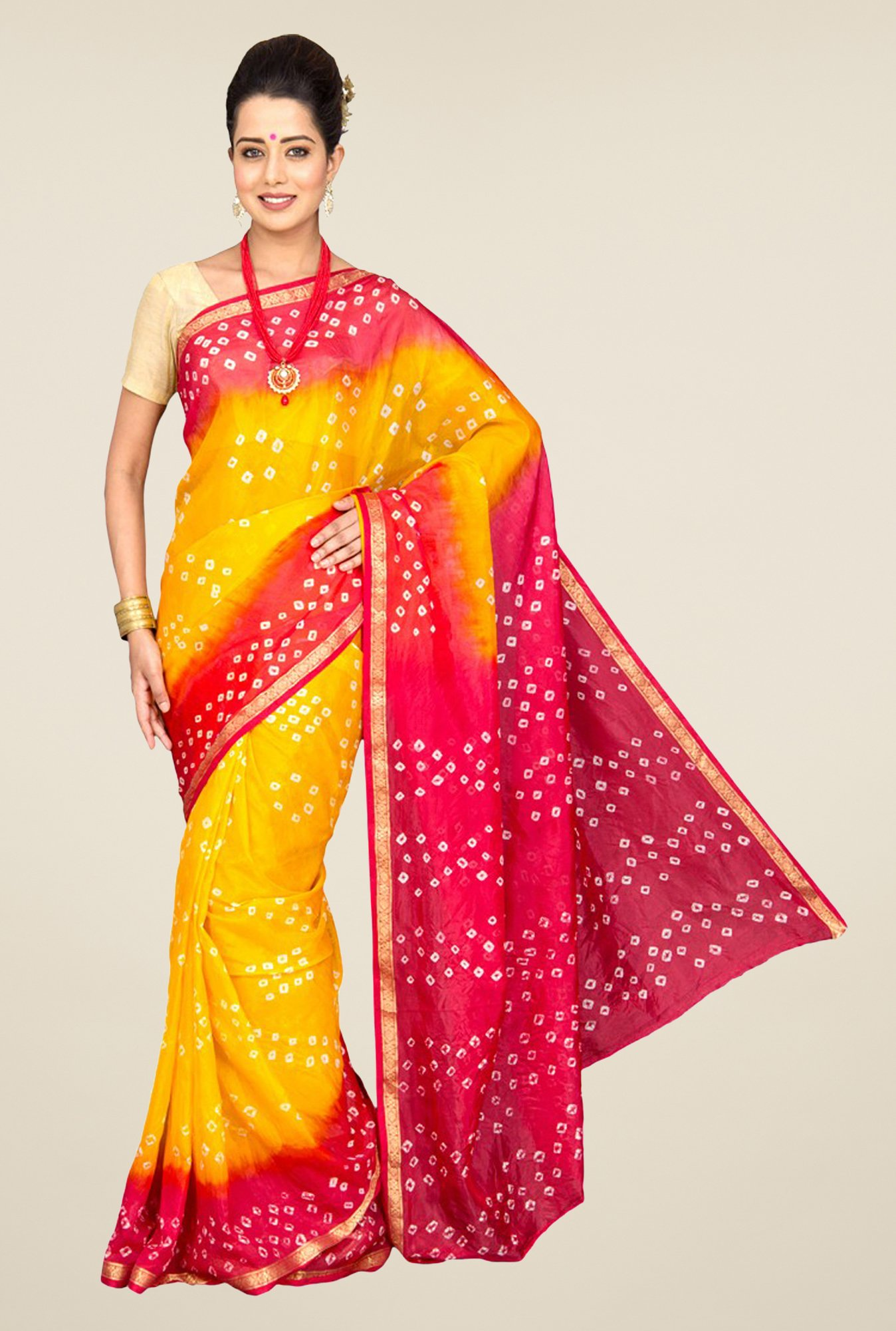 Pavecha's Yellow & Red Chiffon Saree