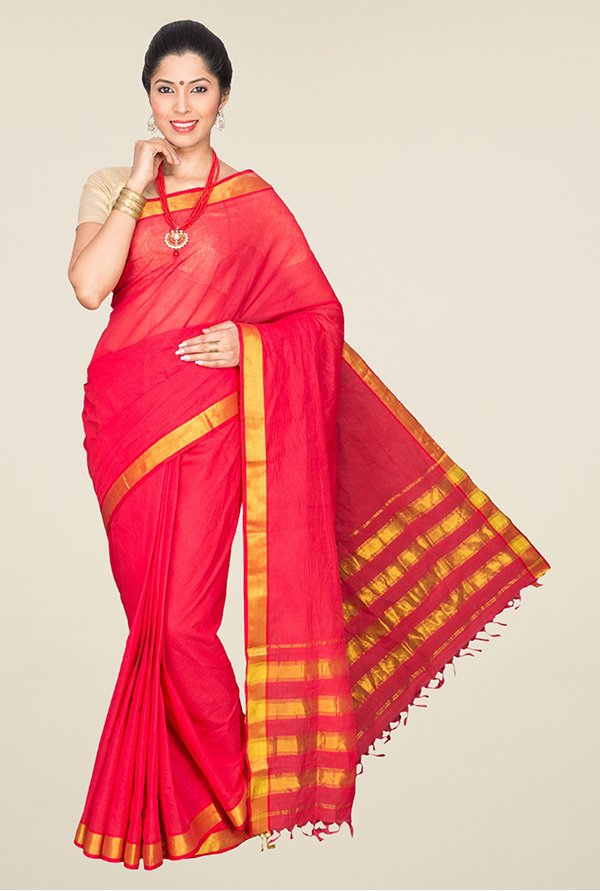 Pavecha's Red Mangalagiri Cotton Saree