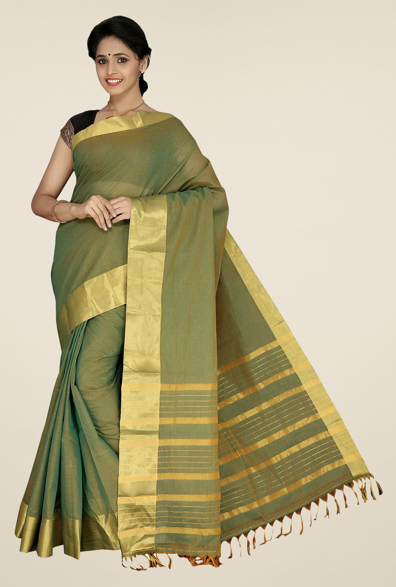 Pavecha's Olive Mangalagiri Cotton Solid Saree