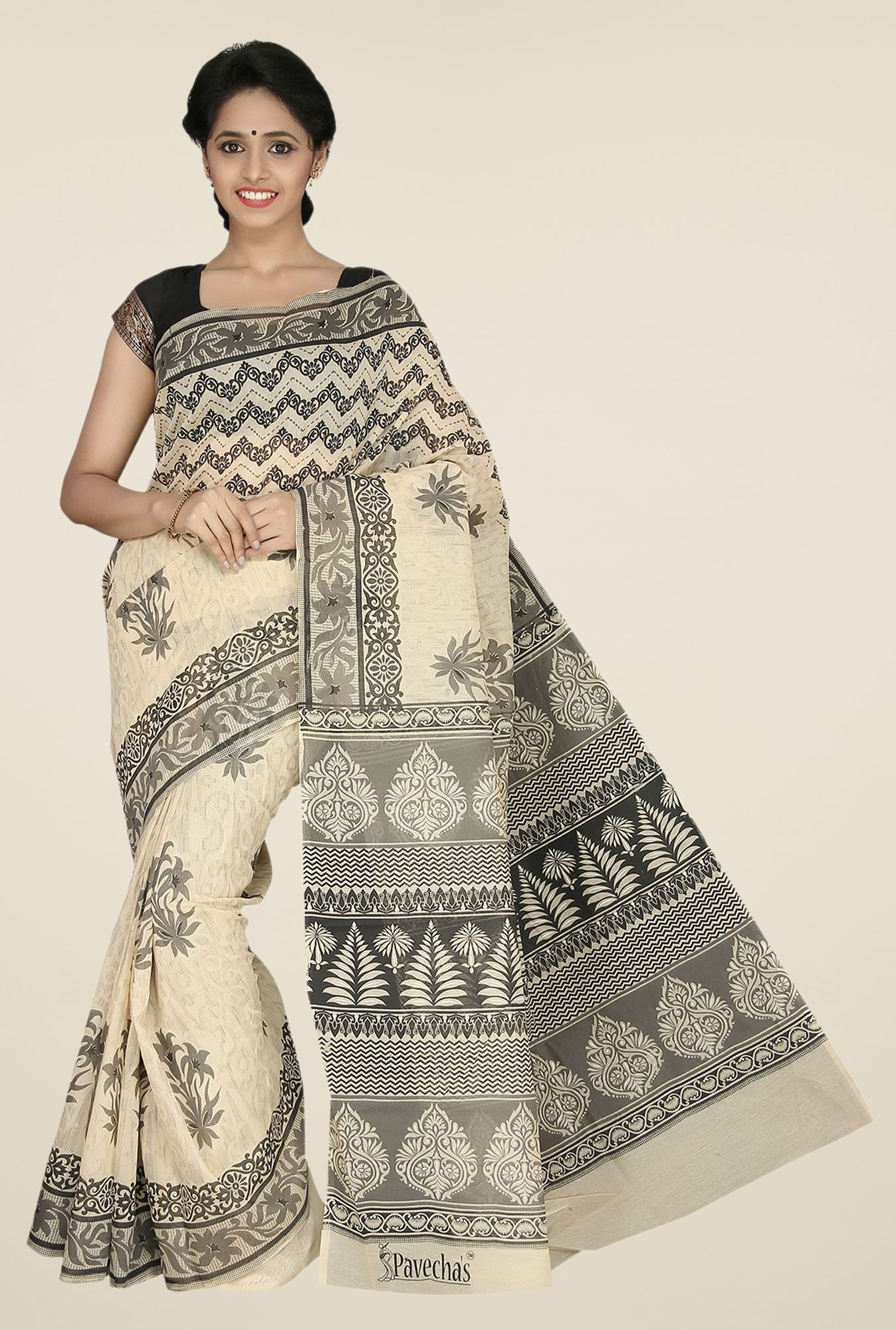Pavecha's Beige Gadwal Cotton Printed Saree