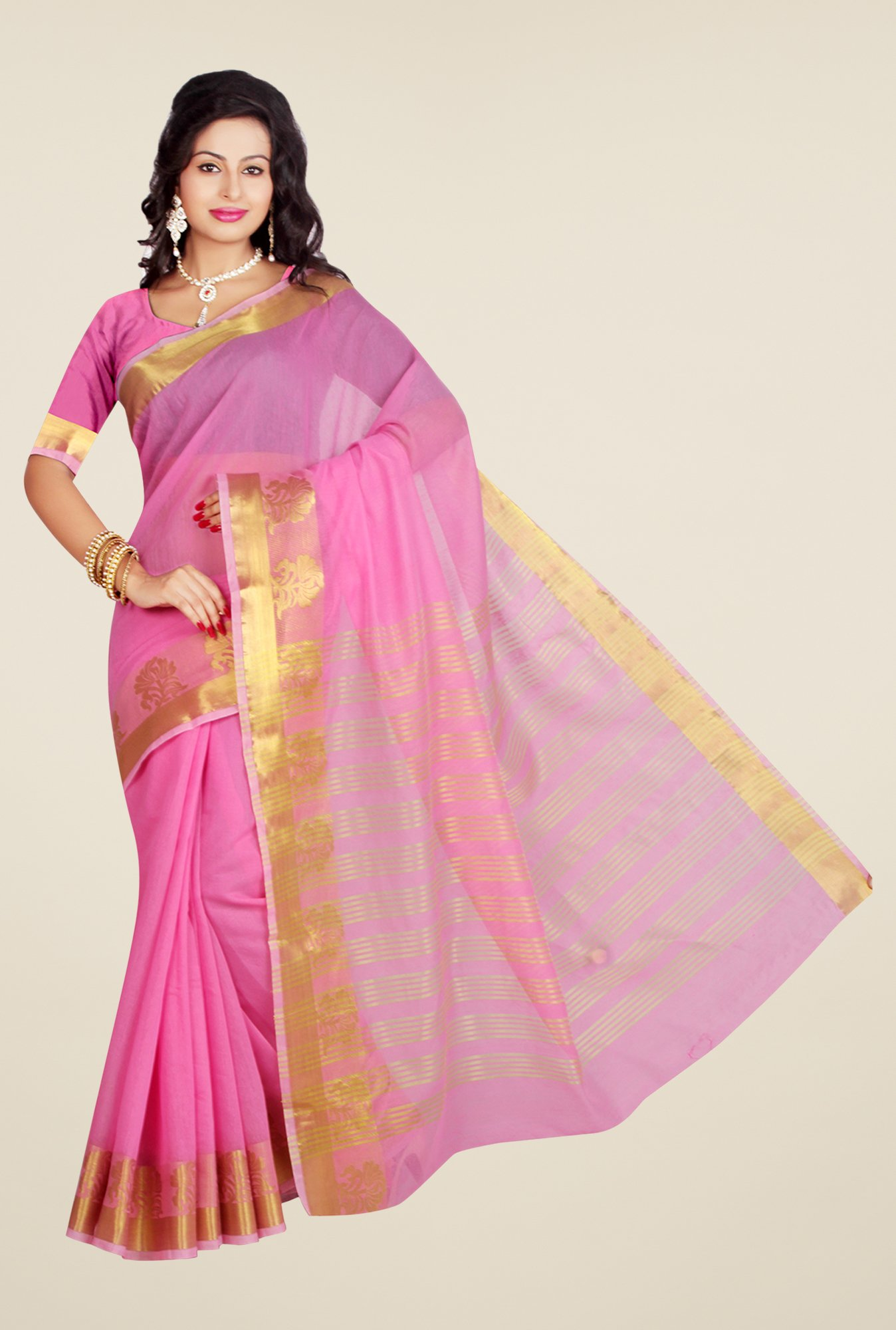 Ishin Pink Poly Cotton Solid Saree