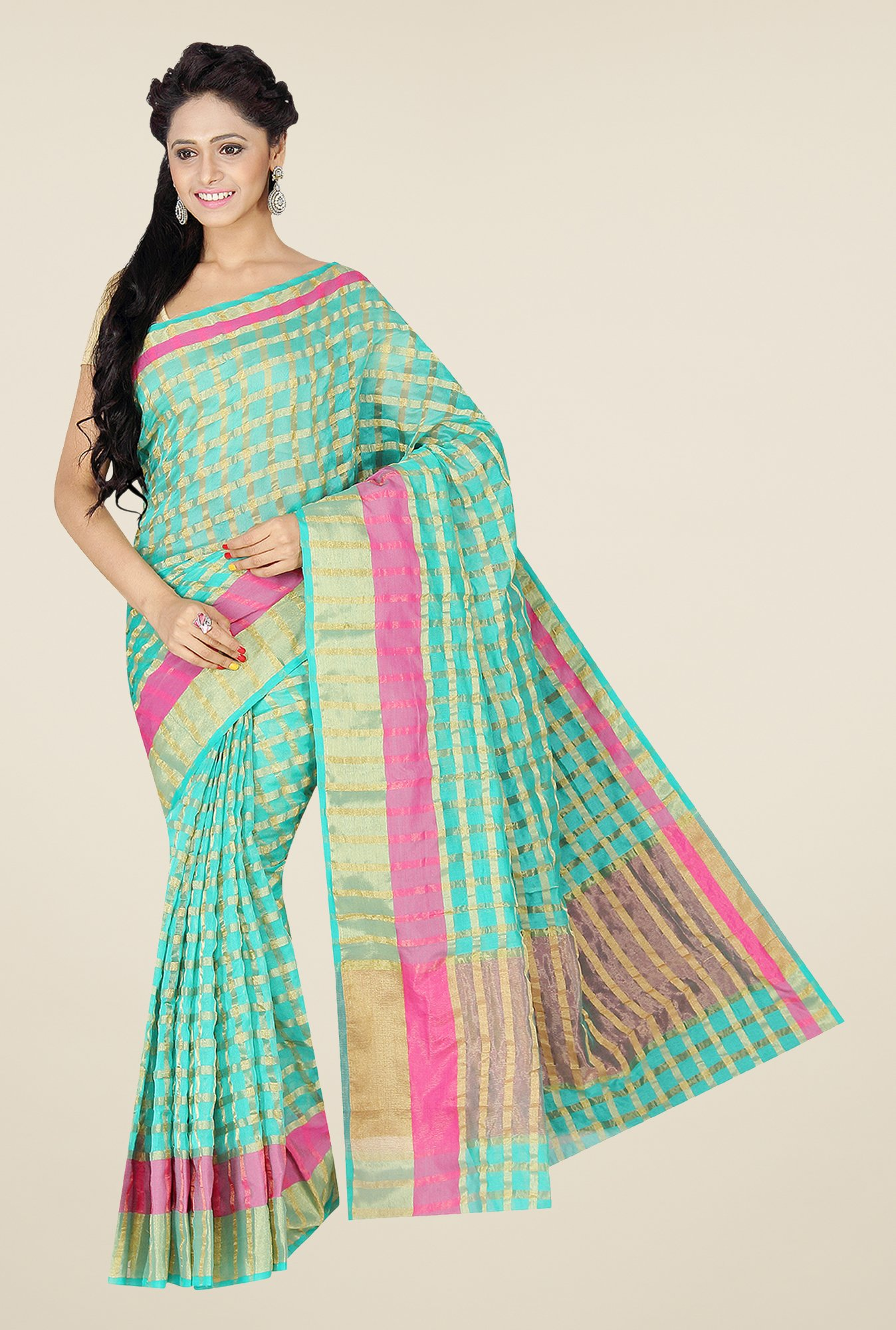 Pavecha's Green Banarasi Cotton Silk Checks Saree