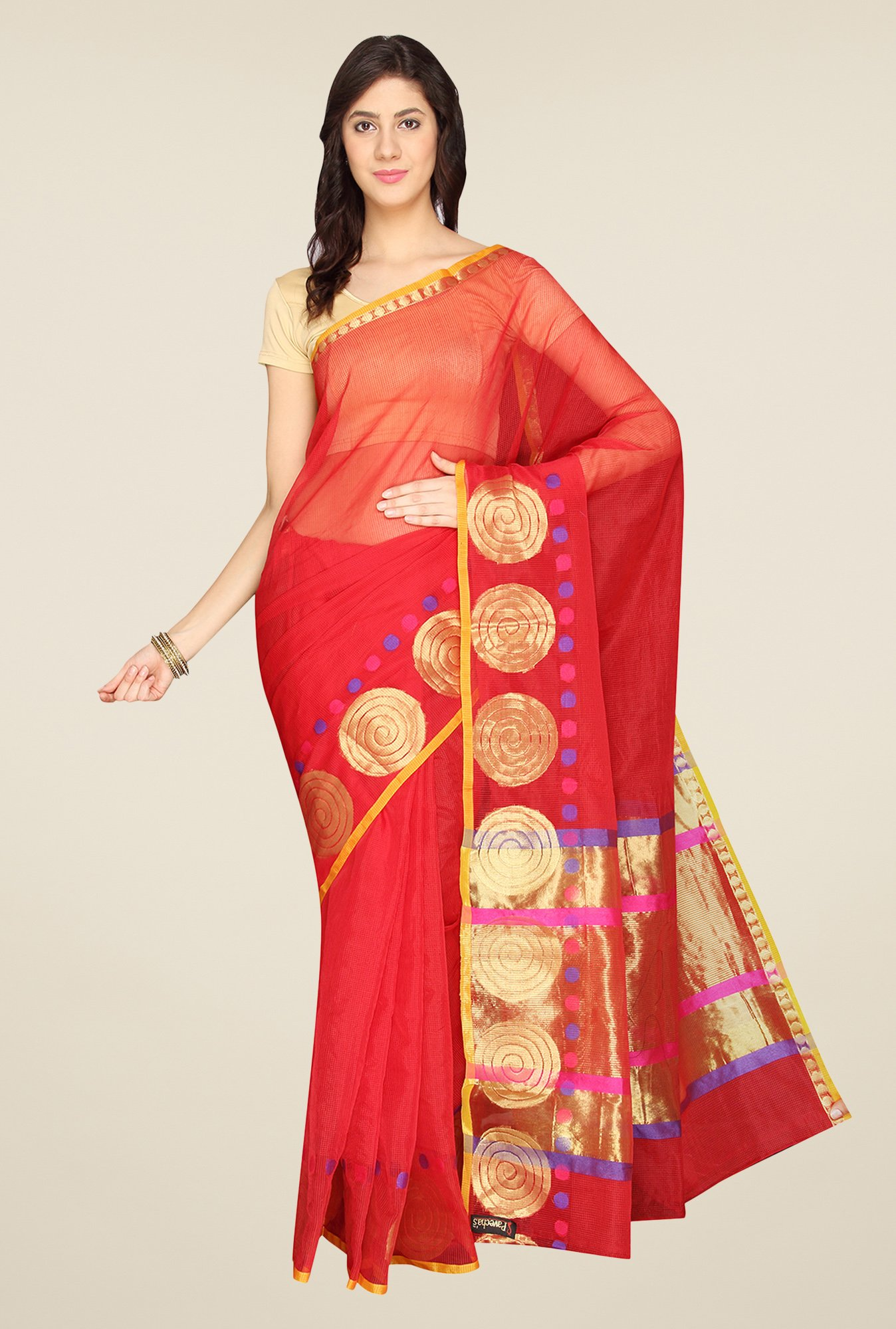 Pavecha's Red Banarasi Kota Cotton Saree