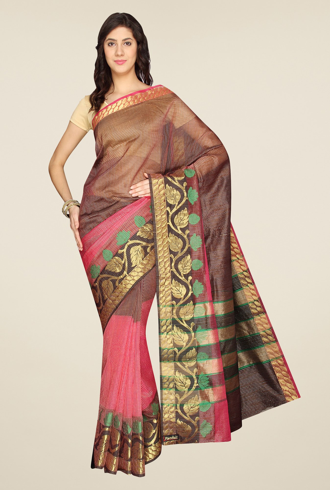 Pavecha's Pink & Black Banarasi Silk Cotton Blend Saree