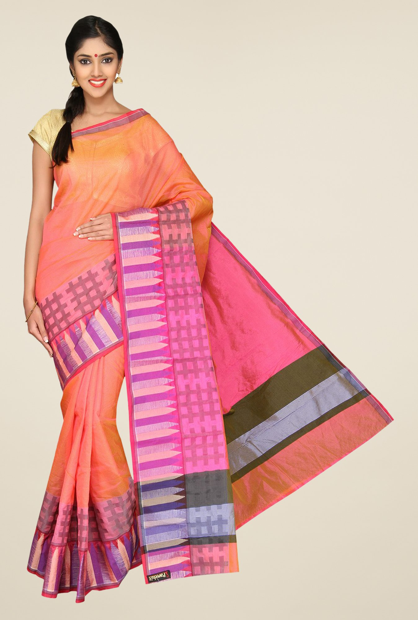 Pavecha's Orange & Pink Banarasi Cotton Silk Saree