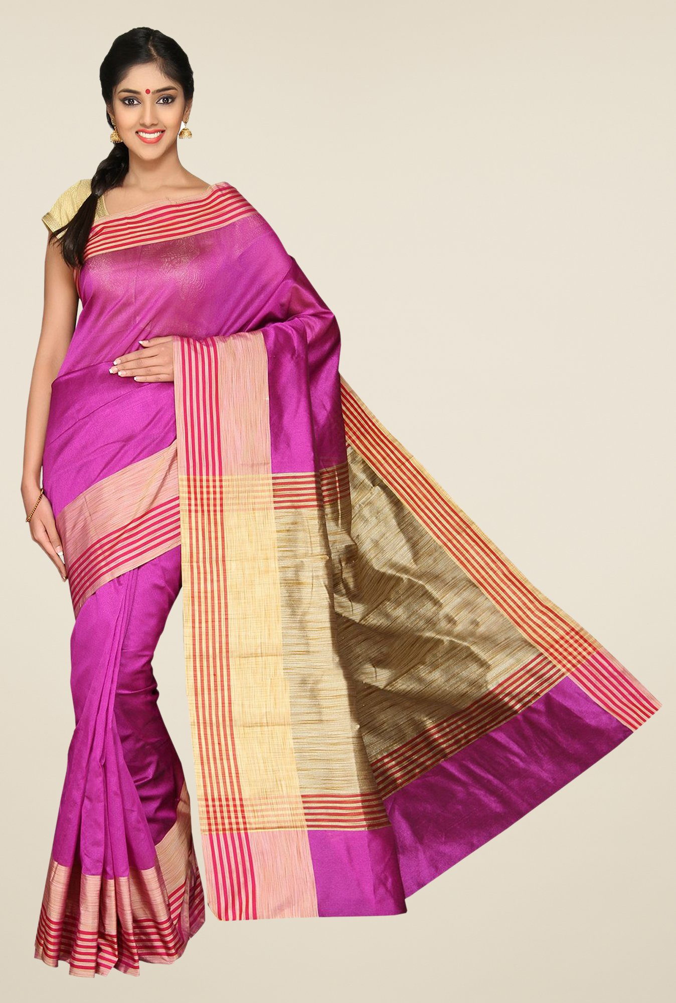 Pavecha's Purple Banarasi Cotton Silk Solid Zari Saree