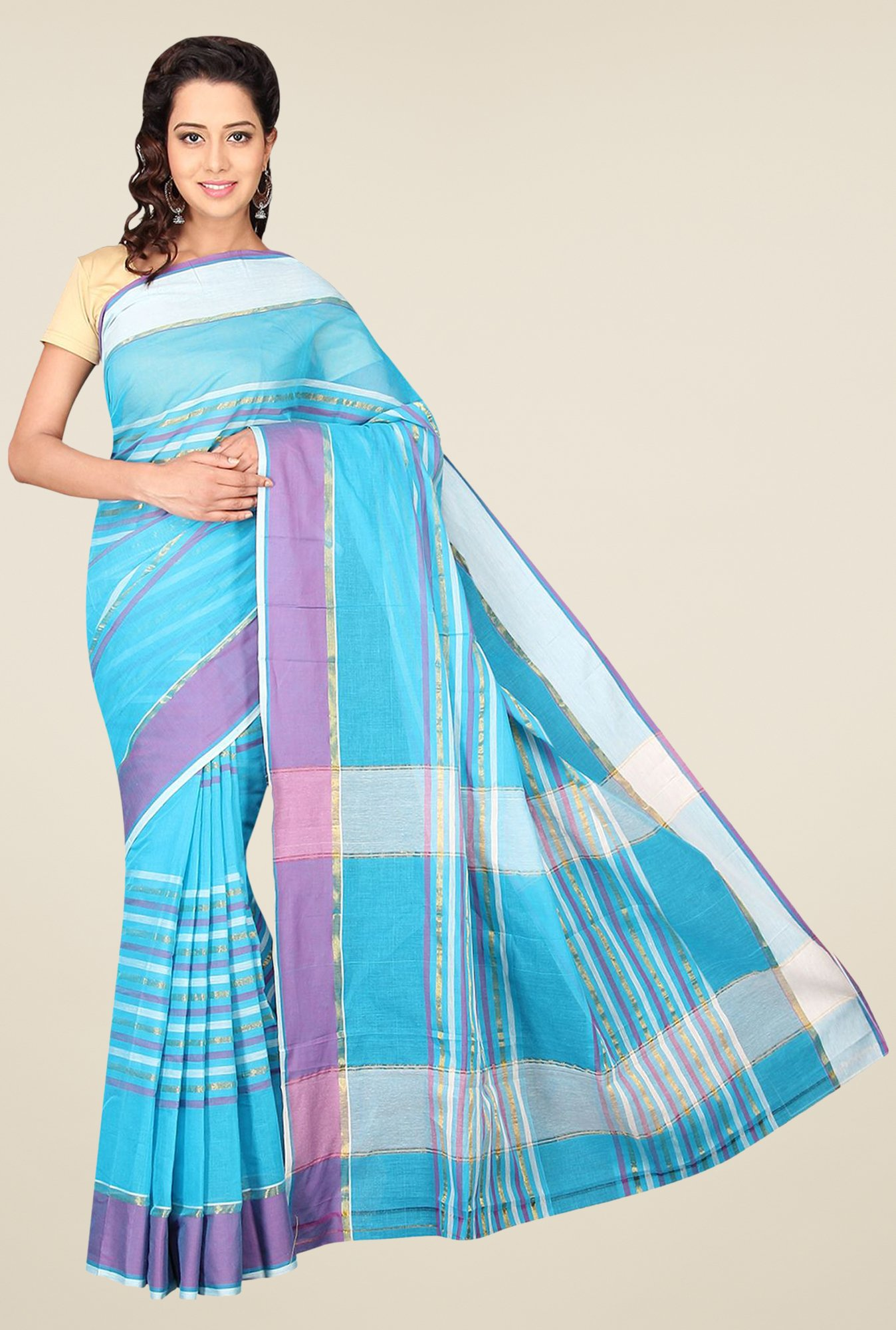 Pavecha's Blue Mangalagiri Cotton Striped Saree