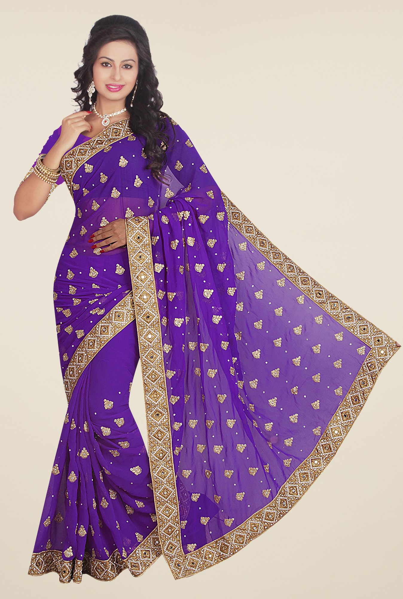Ishin Purple Faux Georgette Embroidered Saree