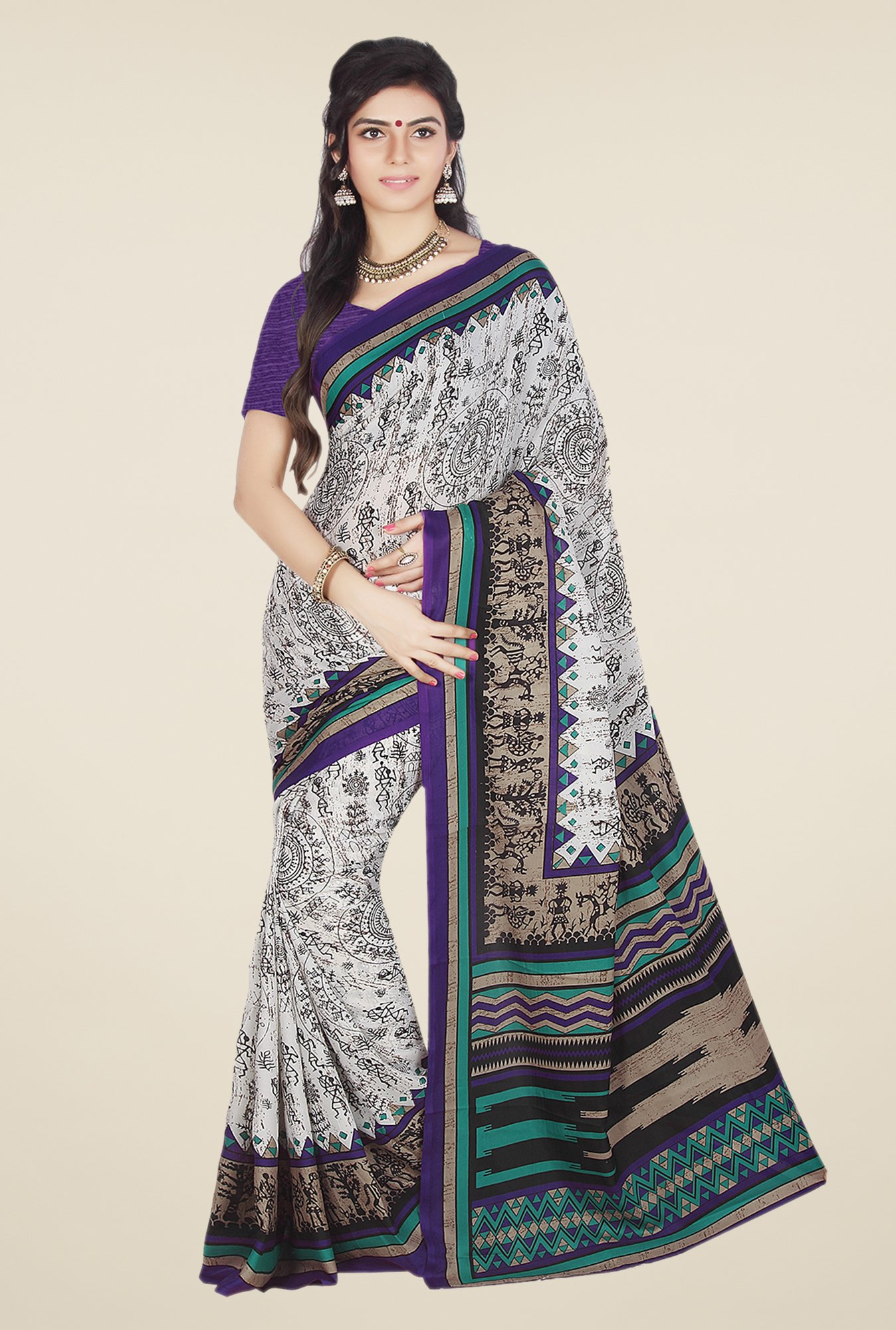 Ishin Off White & Purple Faux Crepe Printed Saree