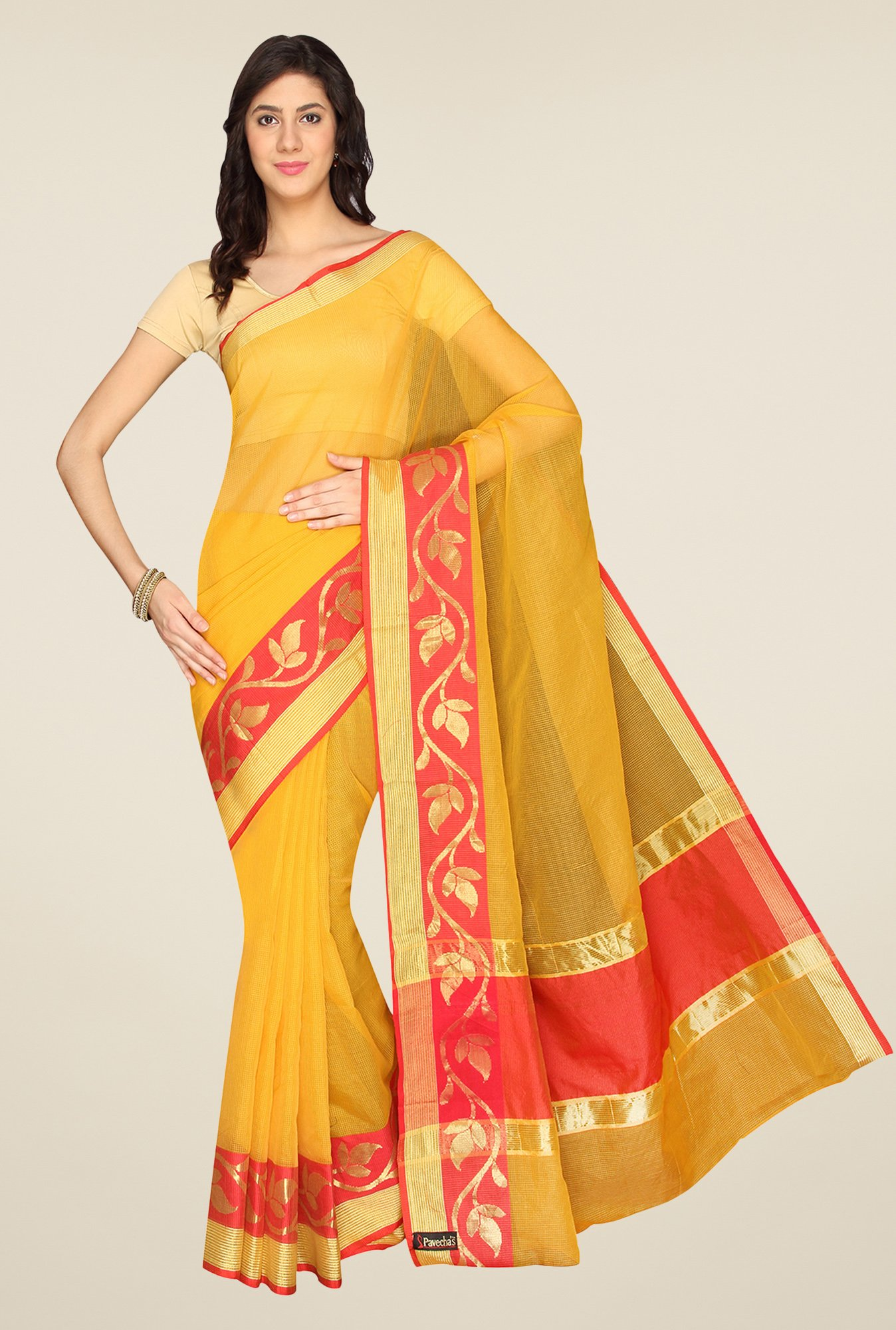 Pavecha's Yellow Banarasi Kota Cotton Saree