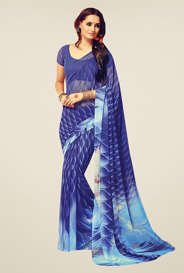 Ishin Blue Faux Georgette Printed Free Size Saree