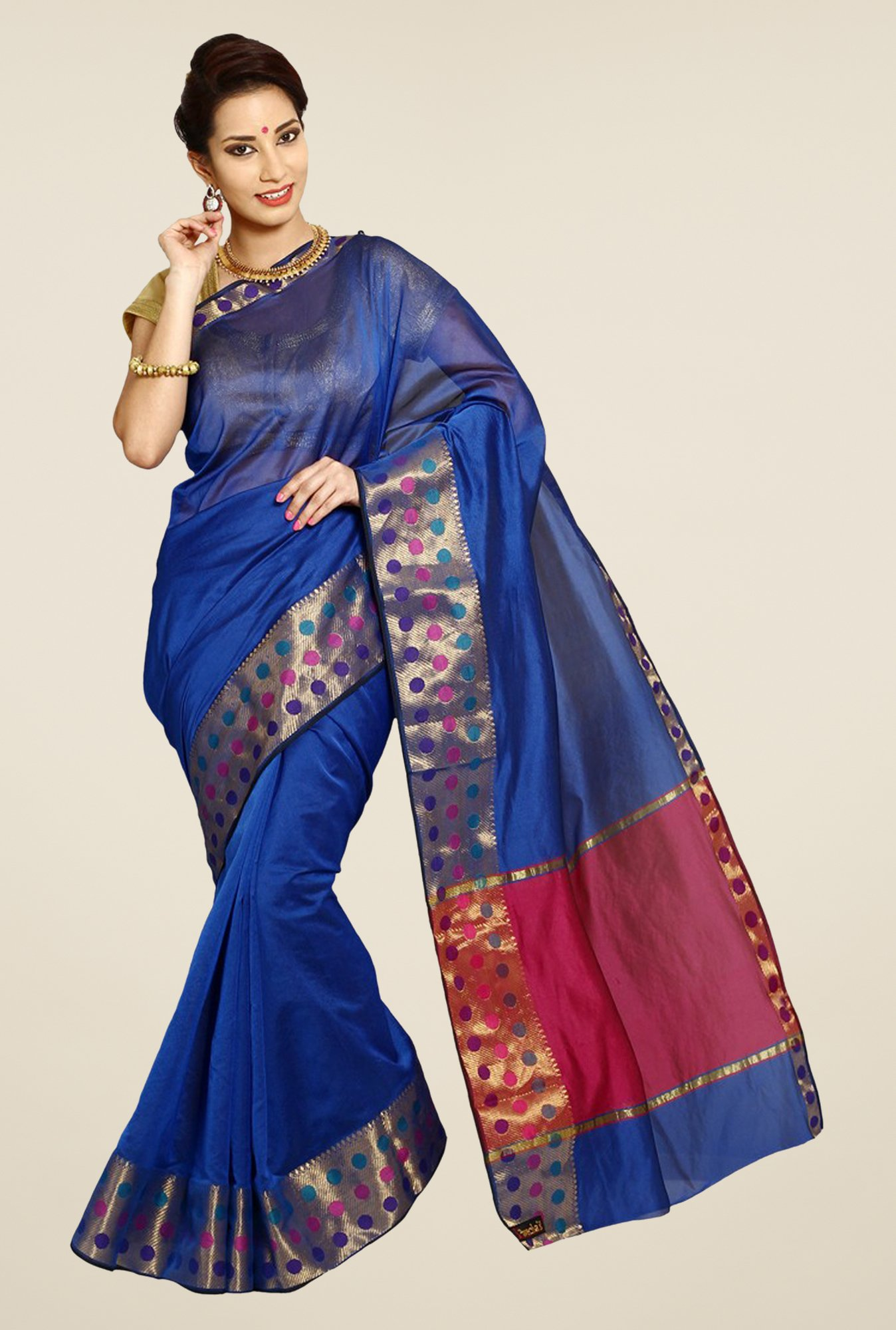 Pavecha's Navy Banarasi Cotton Silk Saree