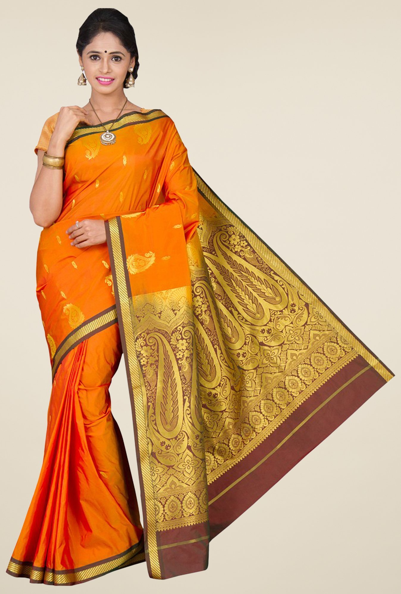Pavecha's Orange Kanjivaram Silk Saree