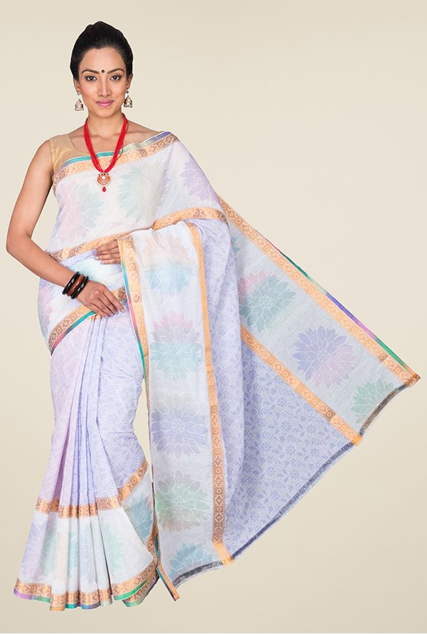 Pavecha's Light Blue & White Banarasi Cotton Silk Saree