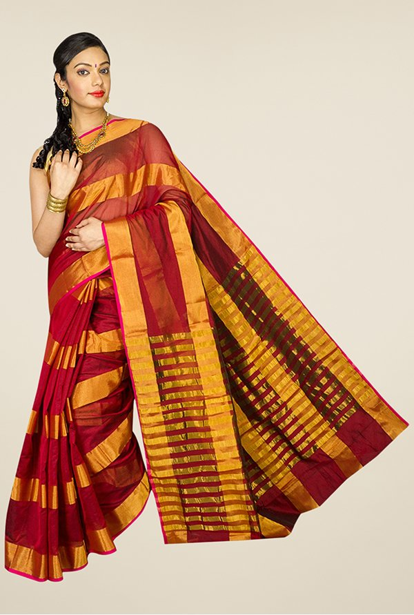 Pavecha's Maroon & Gold Banarasi Cotton Silk Saree