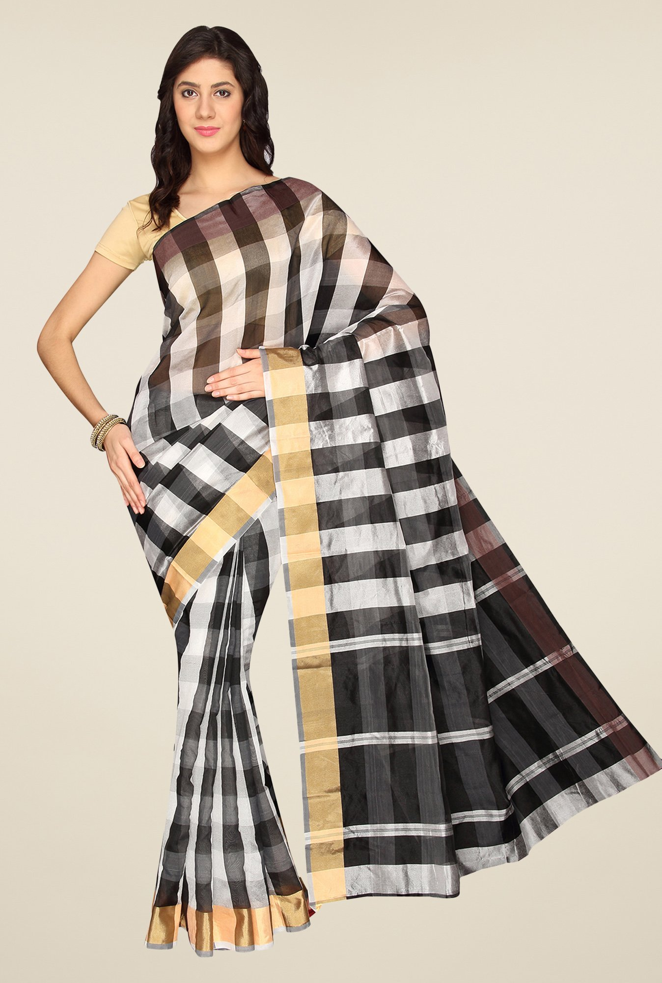 Pavecha's Black & Beige Banarasi Cotton Silk Saree