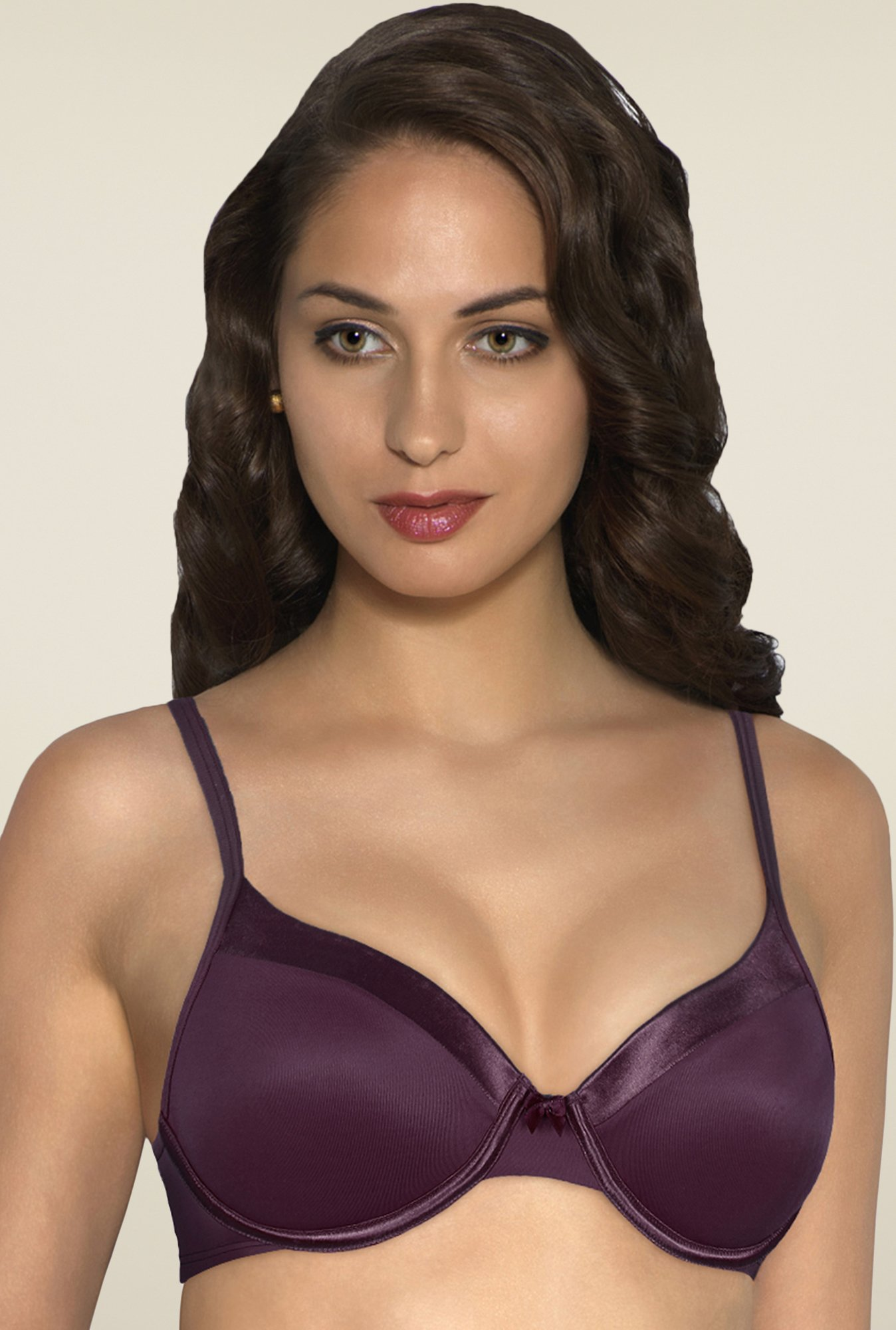 Amante Purple Satin Edge Padded Bra