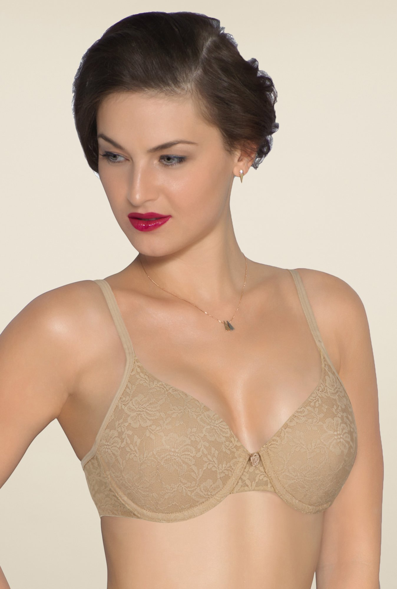 Amante Nude Lace Padded Underwired Bra