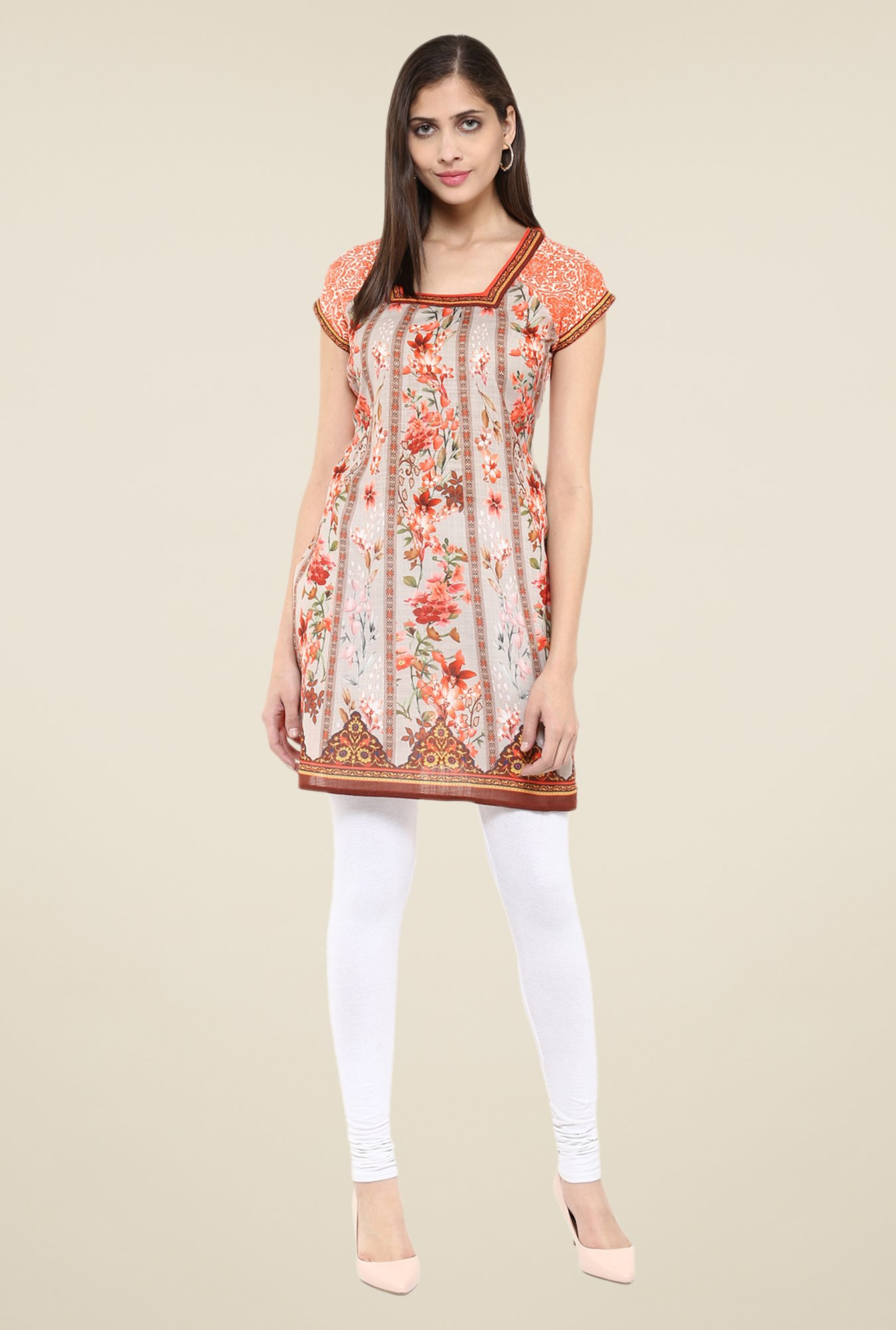 Fusion Beats Orange Floral Print Tunic