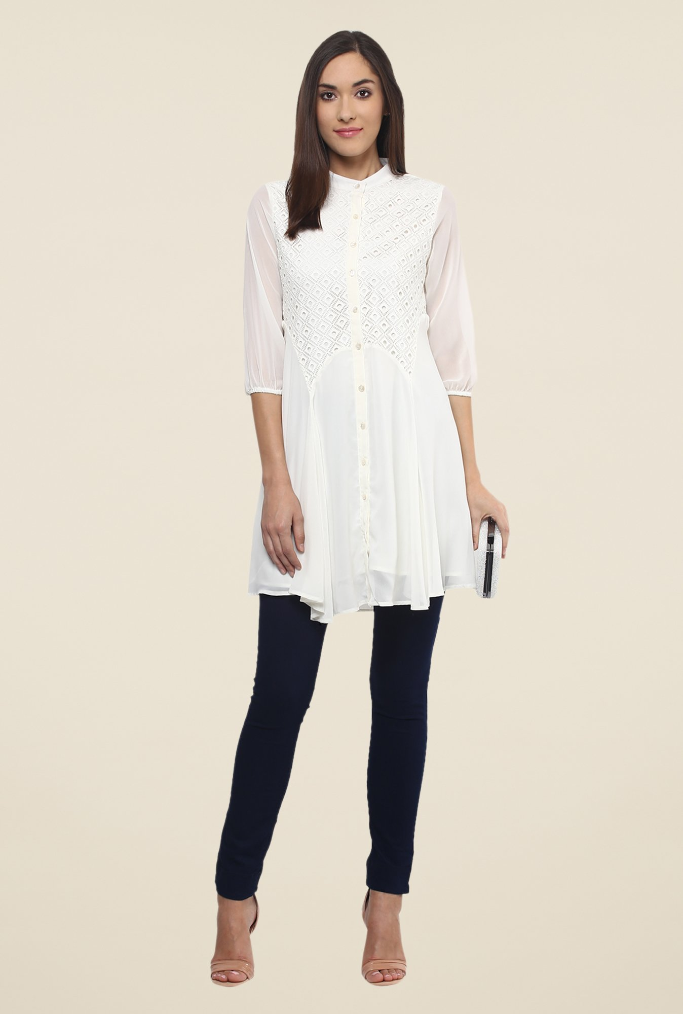 Fusion Beats Off White Solid Tunic