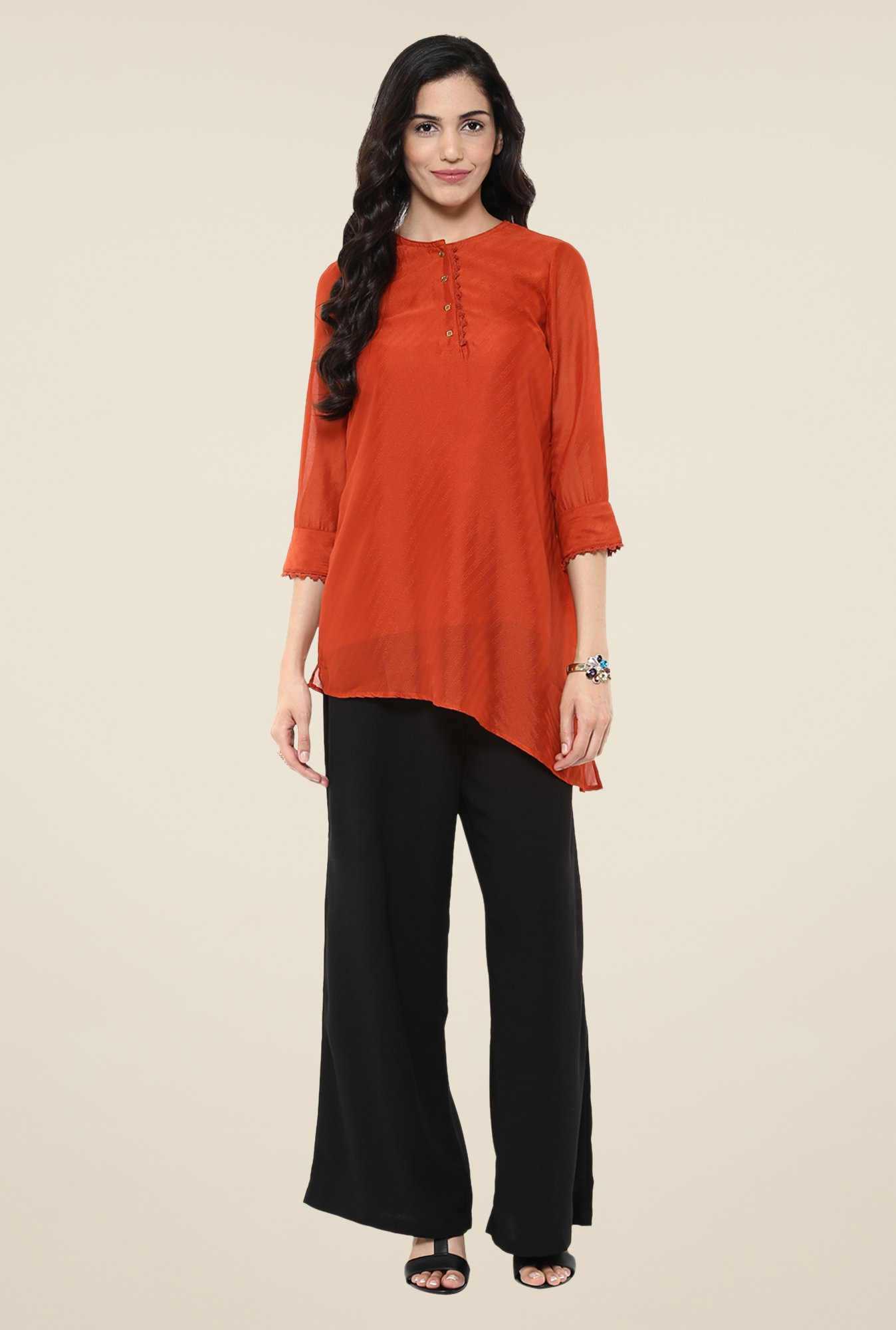 Fusion Beats Rust Embroidered Tunic