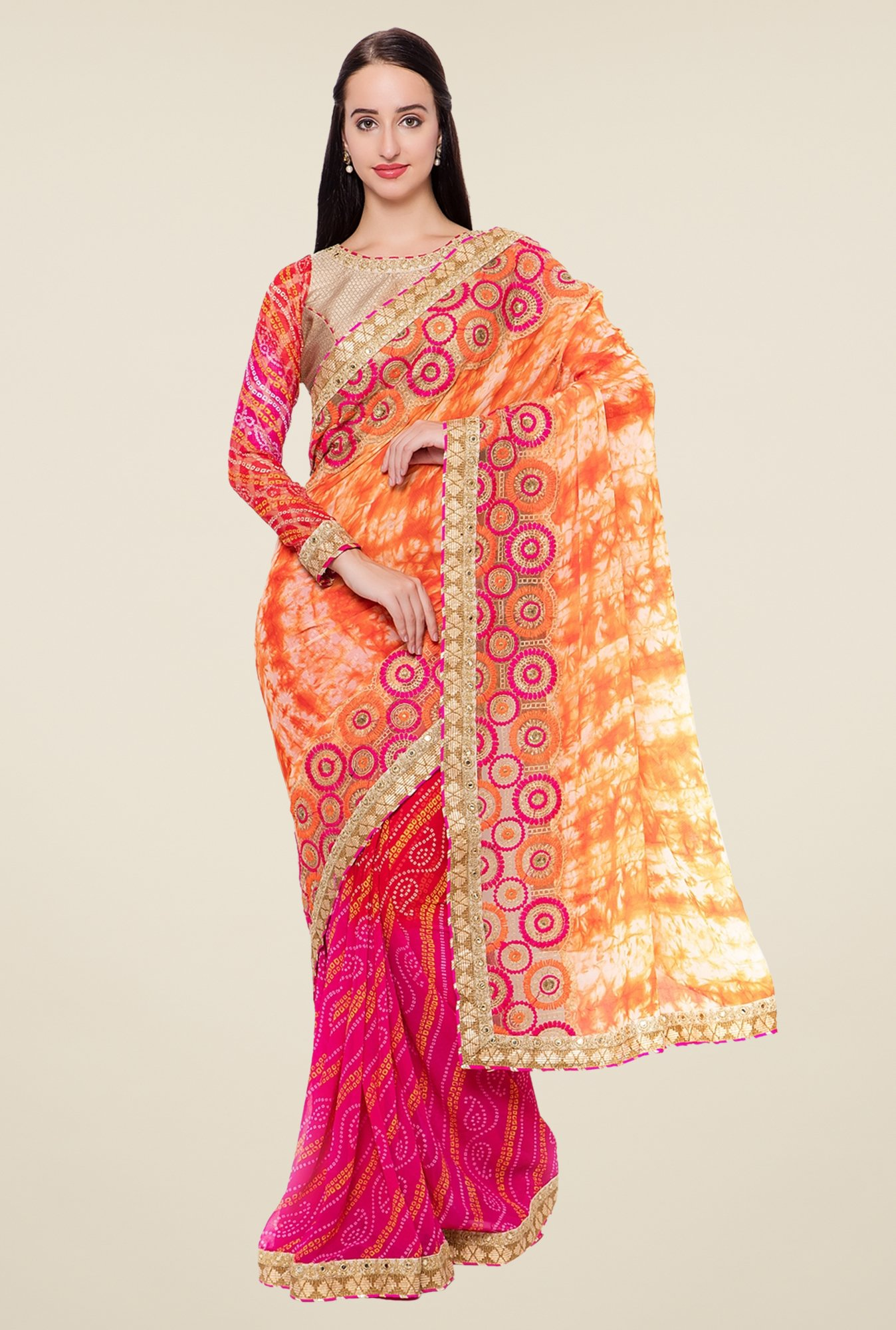 Triveni Pink & Orange Bandhani Faux Georgette Chiffon Saree