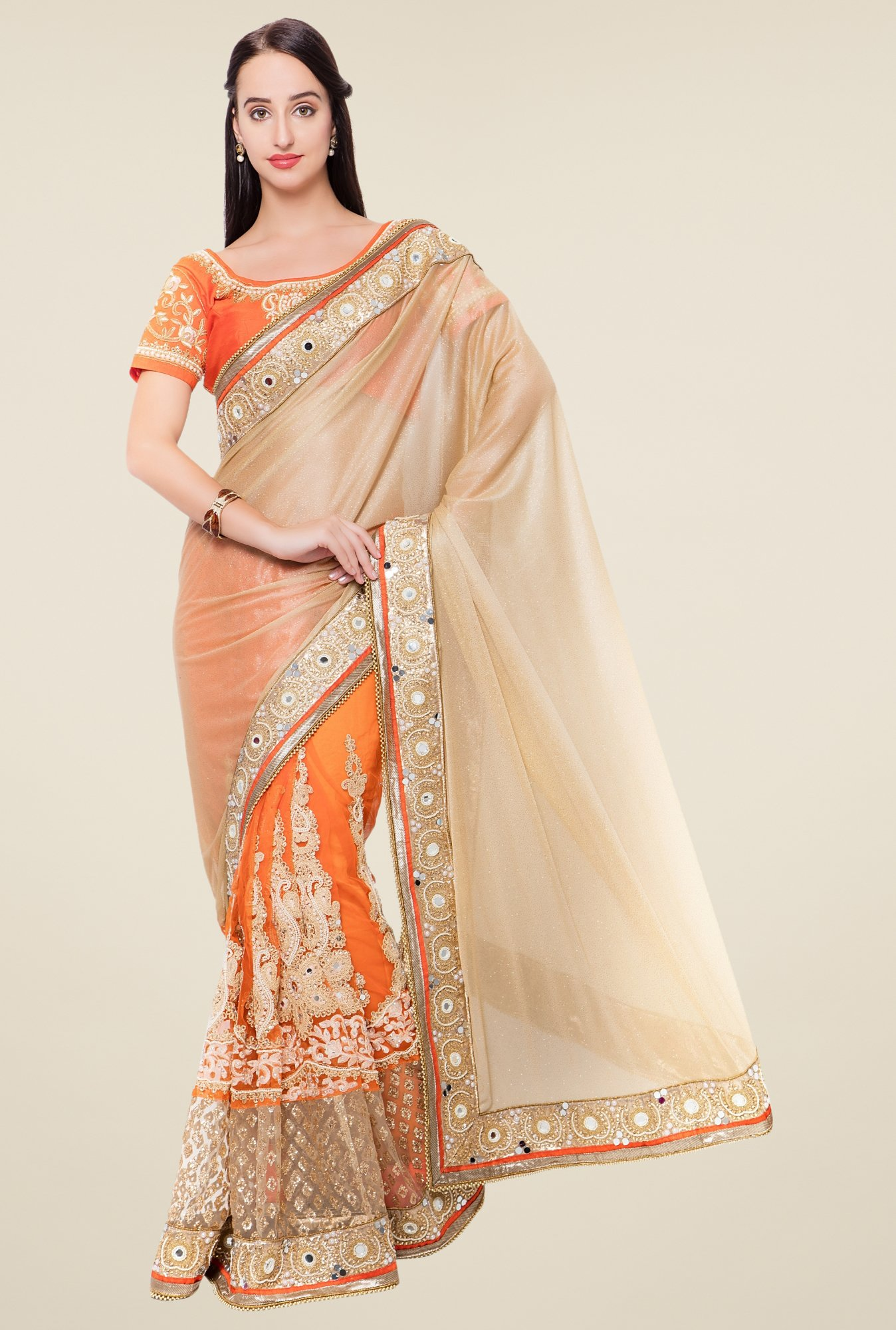 Triveni Orange & Beige Embroidered Lycra Saree