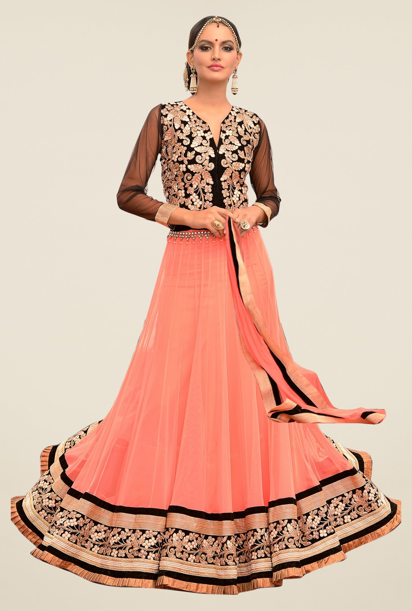 Triveni Peach & Black Embroidered Lehenga Set