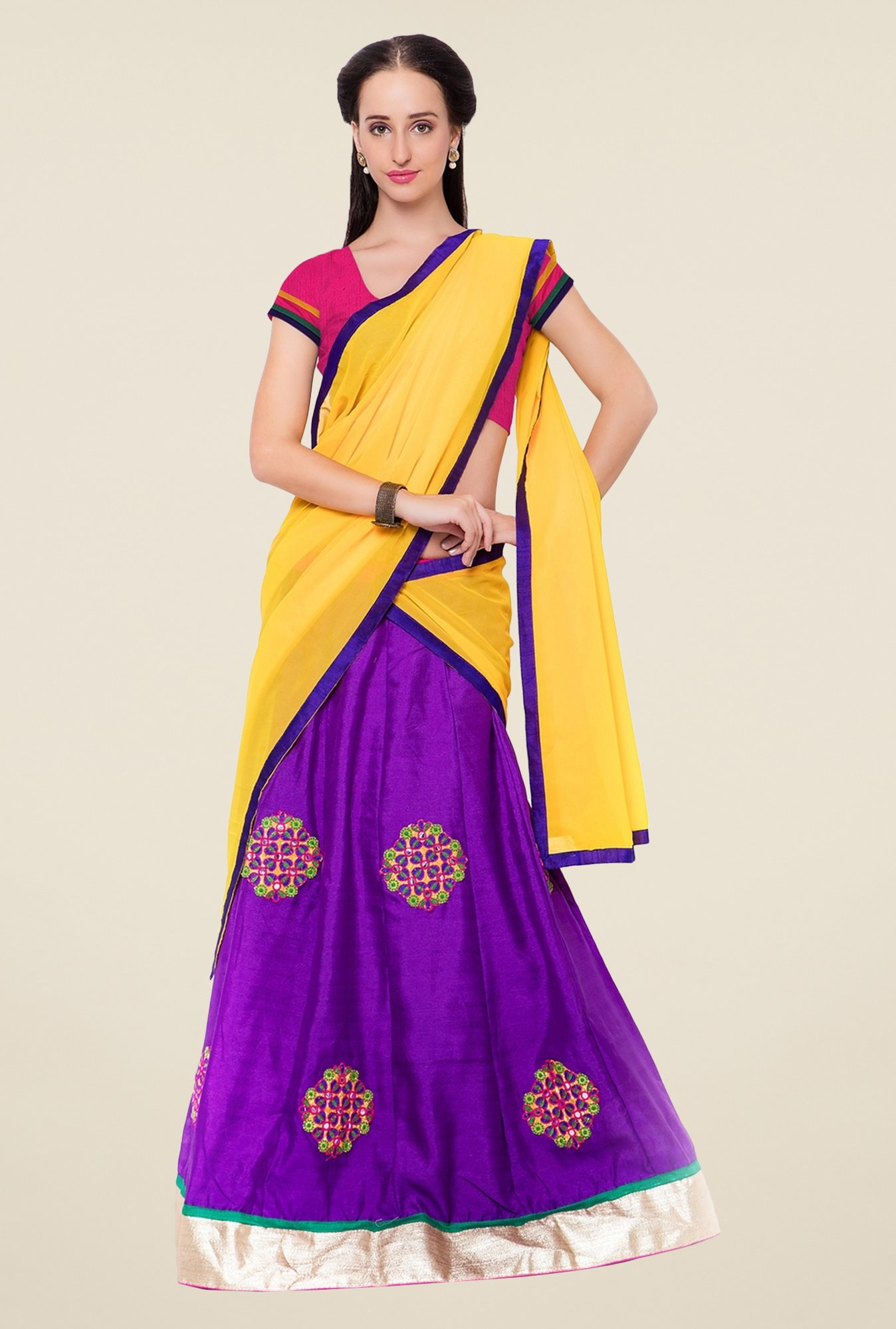 Triveni Purple & Pink Embroidered Lehenga Set