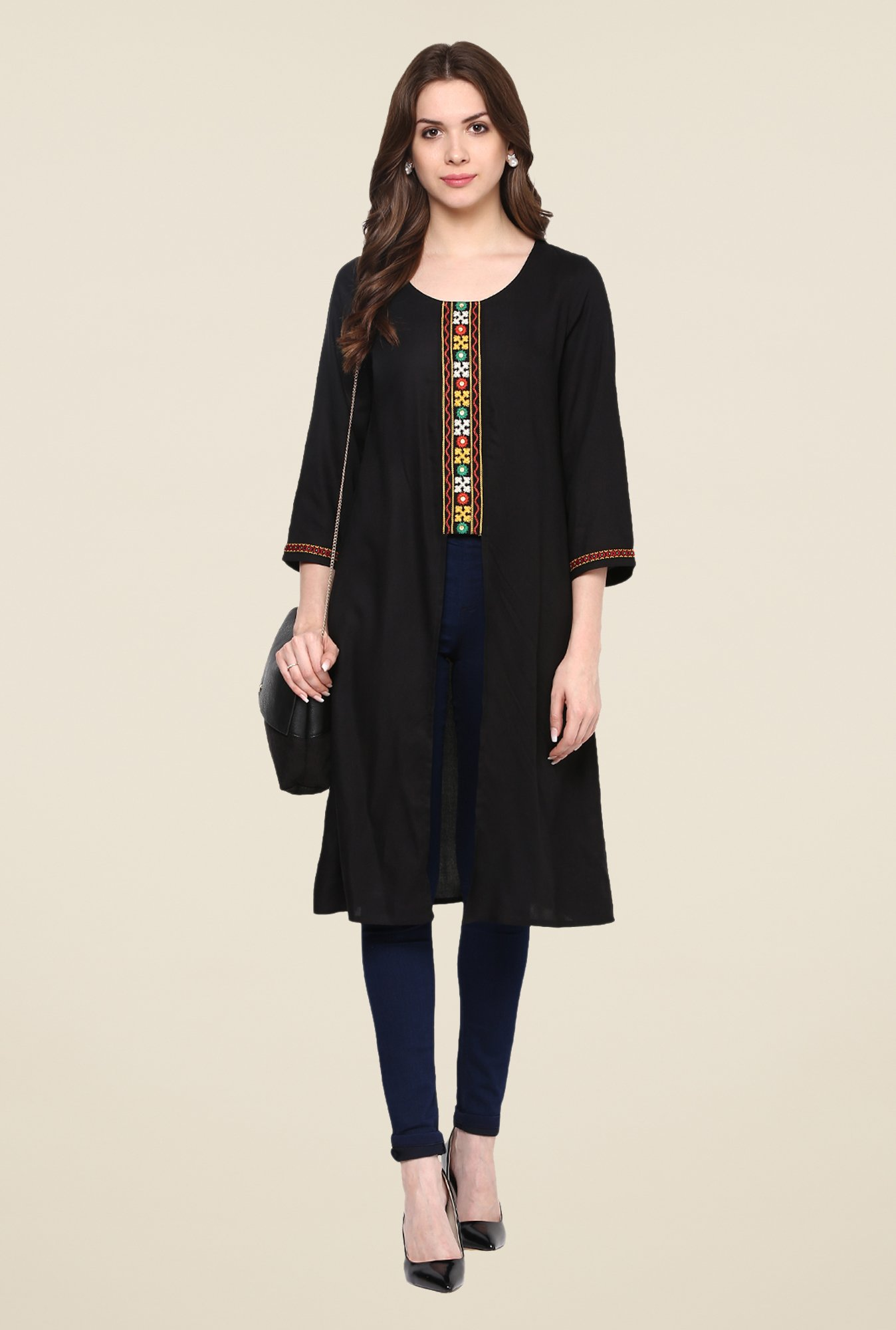 Fusion Beats Black Embroidered Kurta