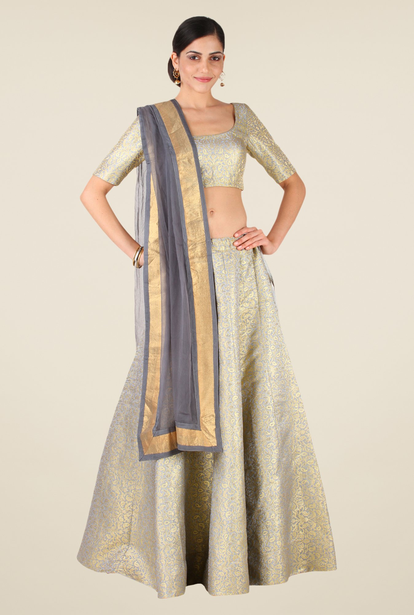 Studio Rasa Grey Semi Brocade Kalidaar Lehenga Set