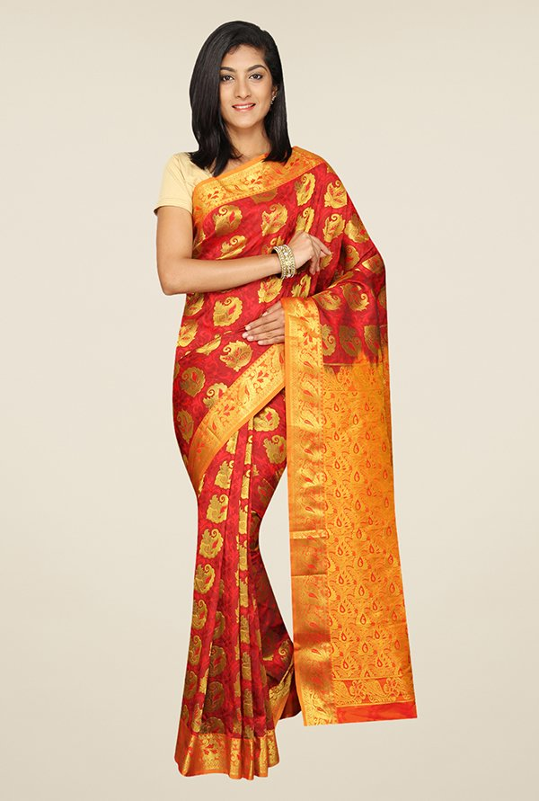 Pavecha's Red Printed Silk Kanjivaram Saree