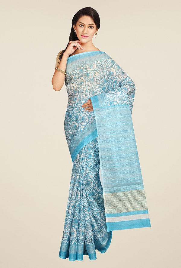 Pavecha's Blue Floral Print Synthetic Bhagalpuri Saree