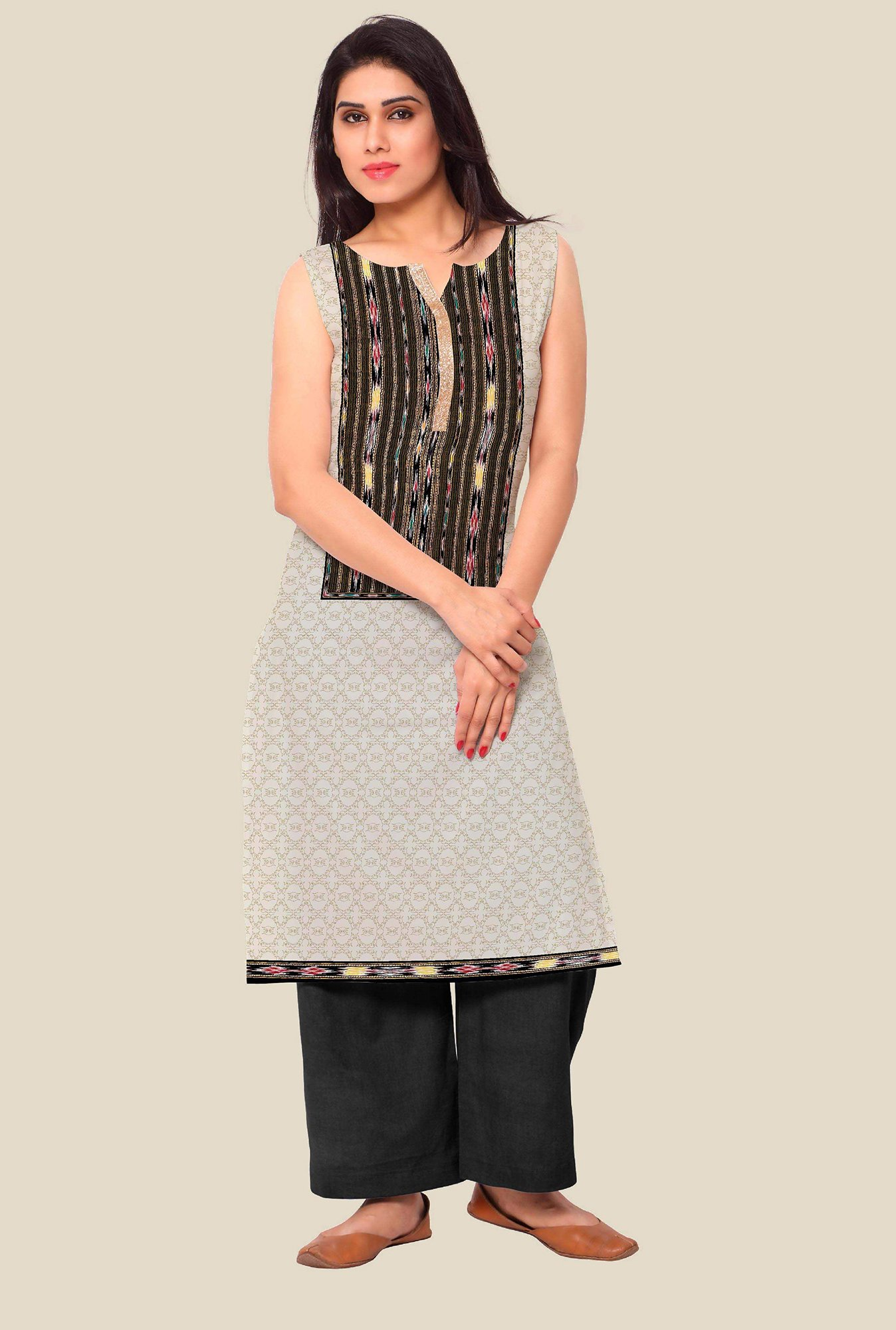 Ahalyaa Off White Printed Kurta