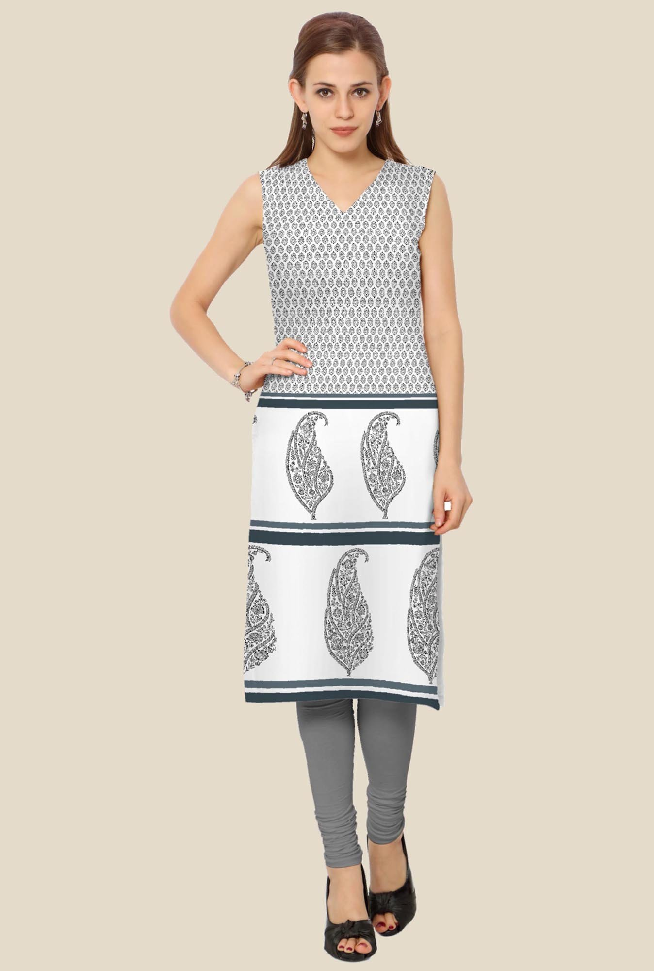 Ahalyaa White & Grey Printed Kurta