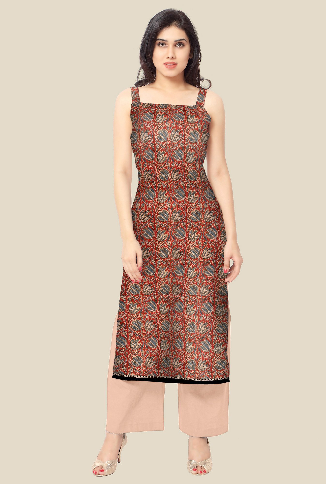 Ahalyaa Red Printed Kurta