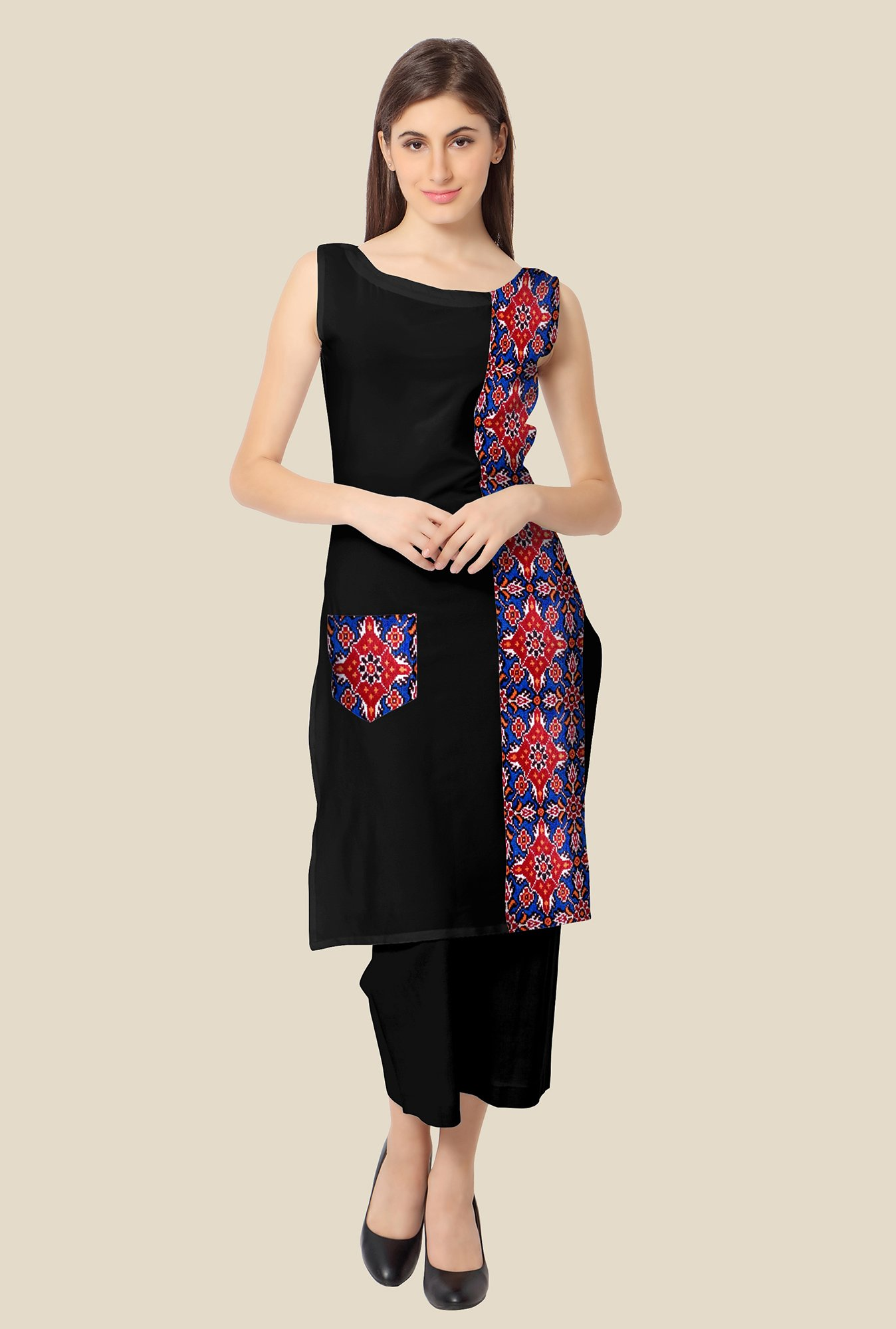 Ahalyaa Blue and Black Printed Kurta