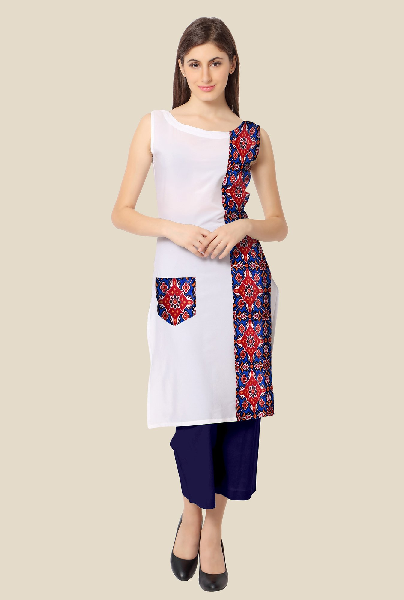 Ahalyaa Red and White Printed Kurta