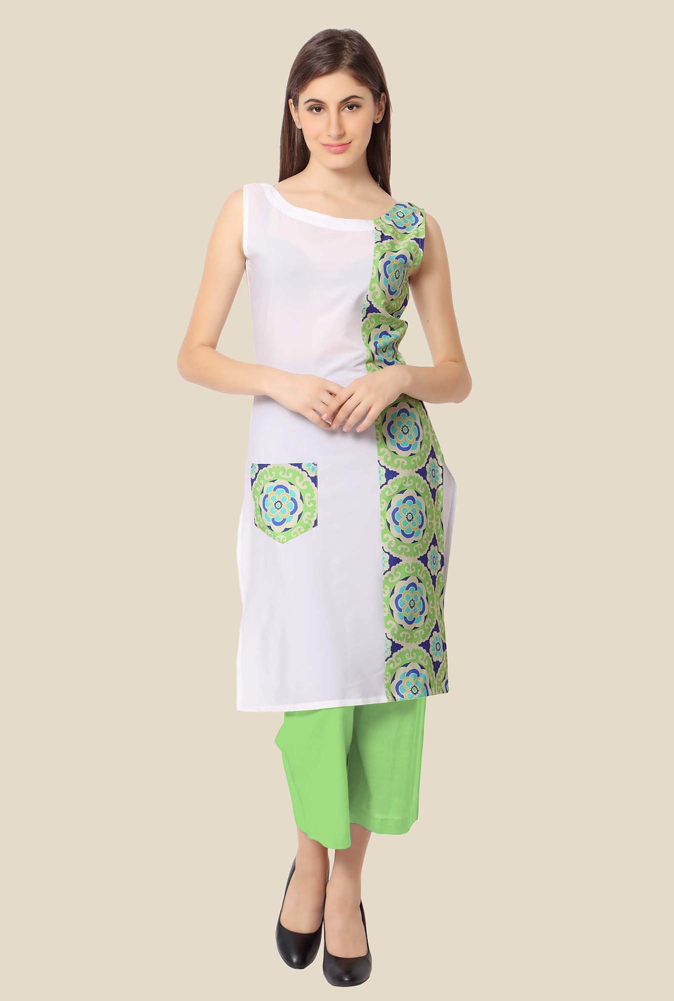Ahalyaa Green and Off-white Floral Print Kurta