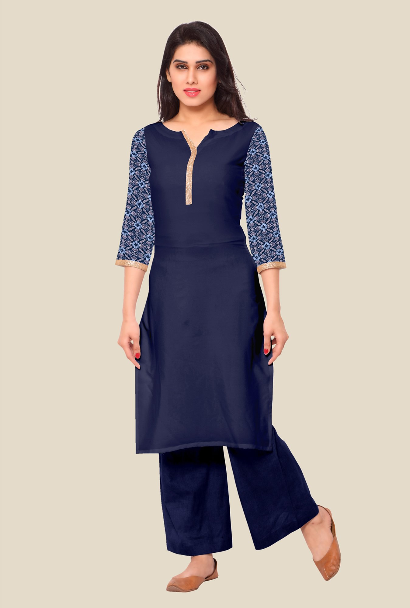 Ahalyaa Dark Blue Solid Kurta