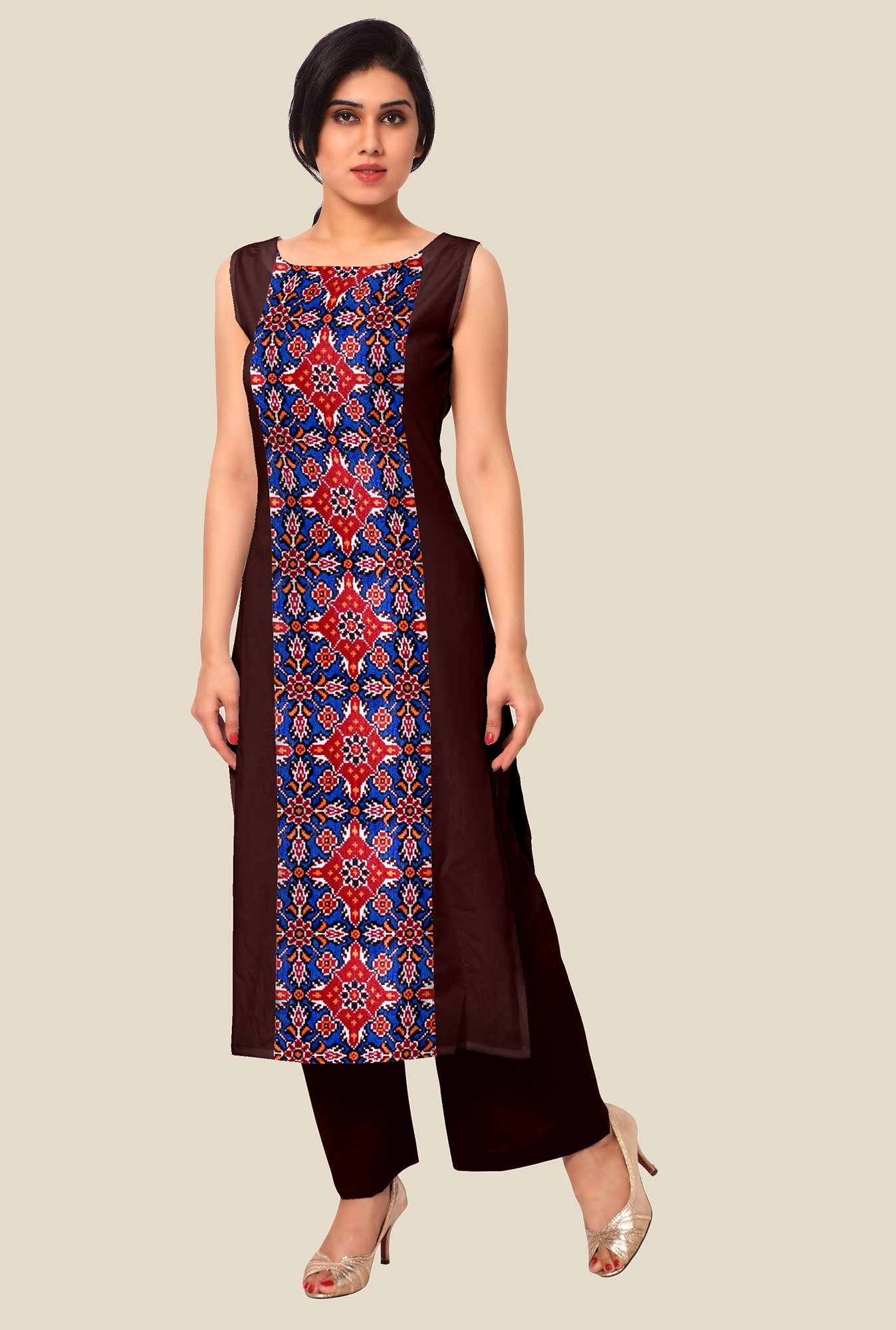 Ahalyaa Brown & Blue Printed Kurta