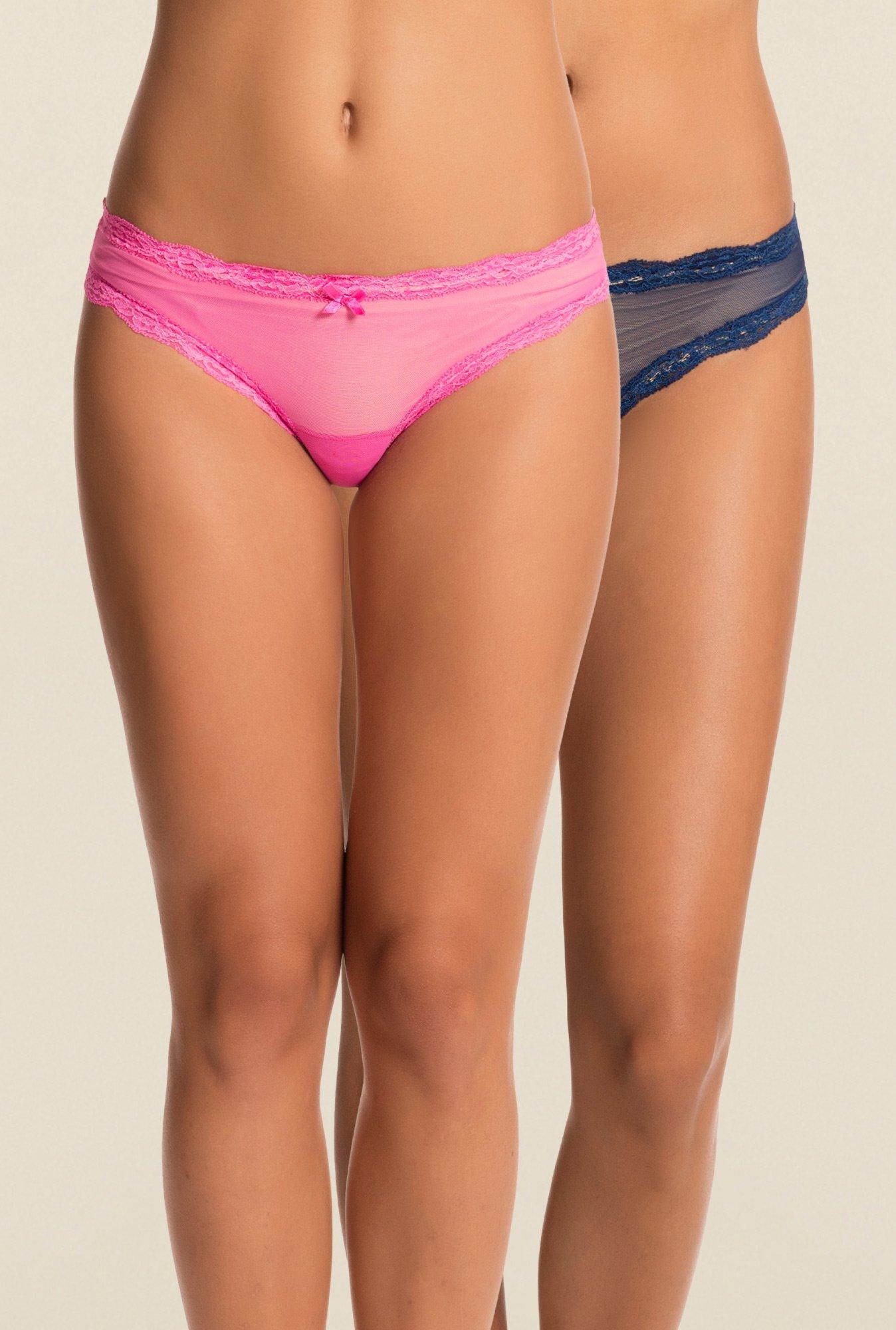 Buy PrettySecrets Pink   Navy Lace Bikini Panties (Pack Of 2) for Women  Online   Tata CLiQ 9702424a2