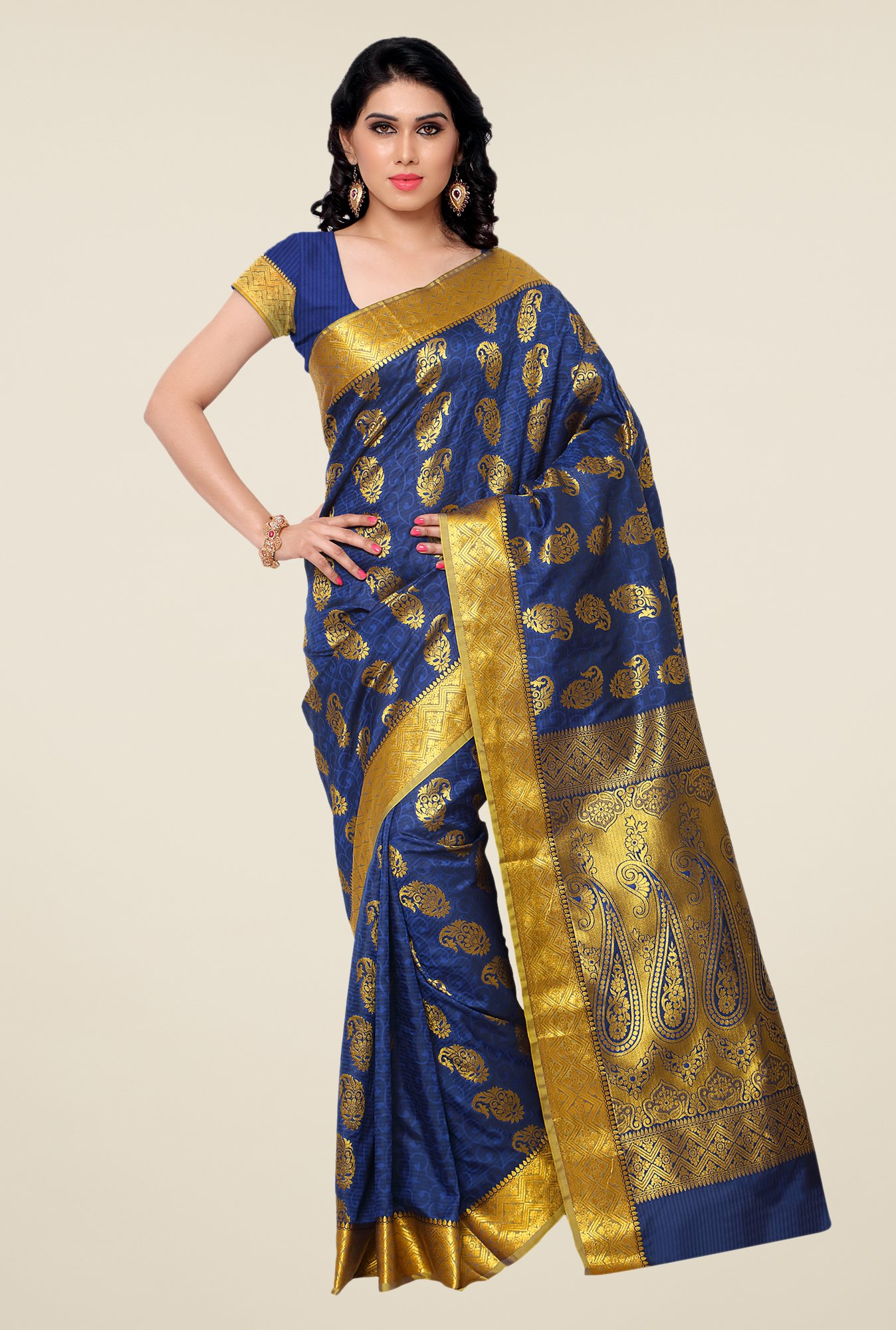 Janasya Dark Blue Paisley Print Kanchipuram Silk Saree