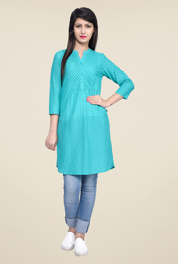 Juniper Turquoise Embroidered Kurti