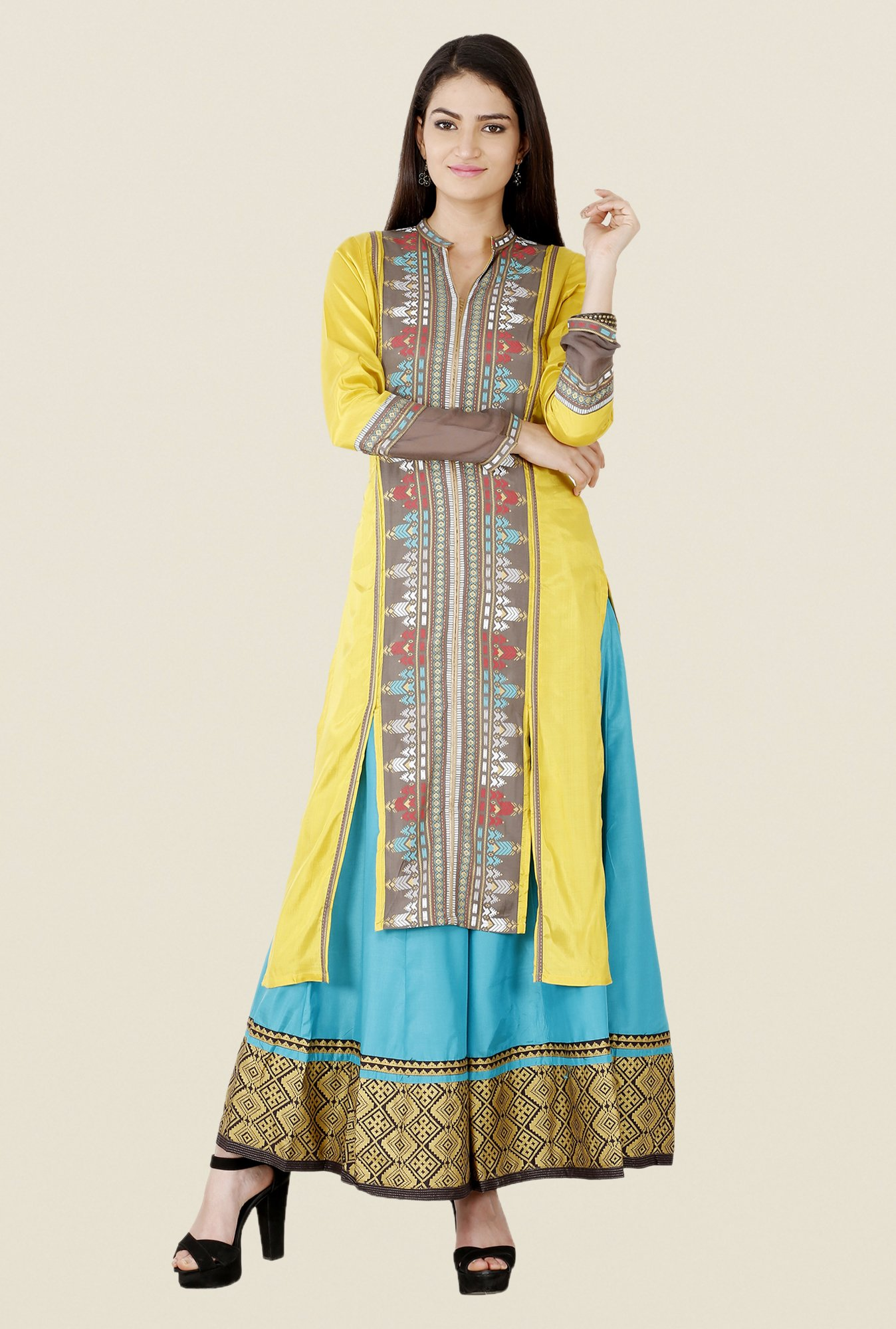 W Beige & Yellow Printed Kurta