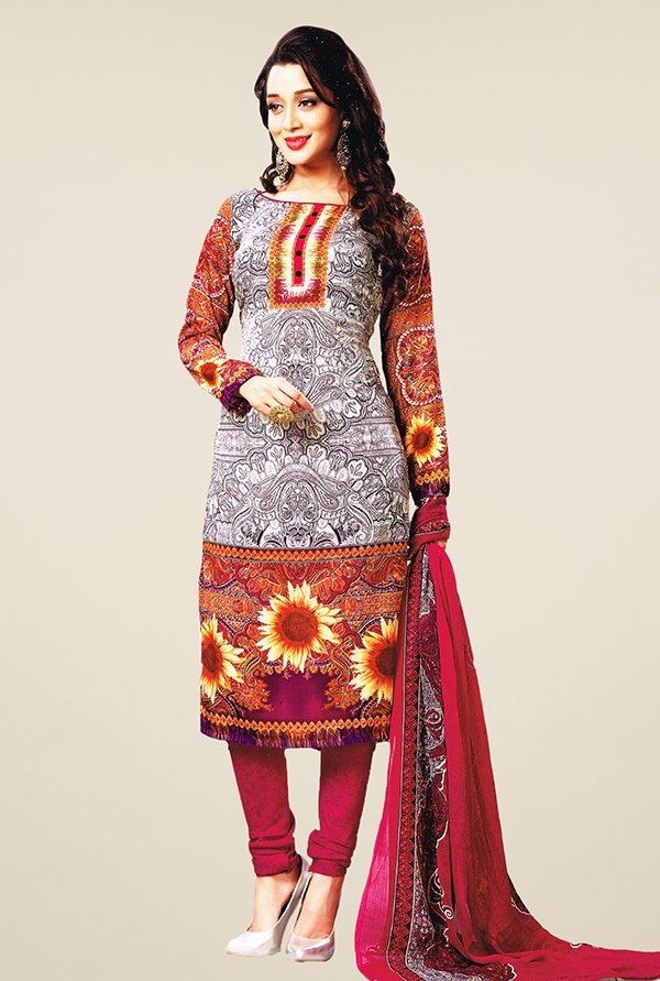 Salwar Studio Off White & Pink Printed Dress Material