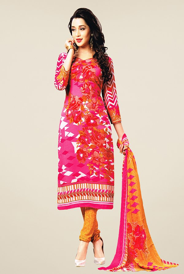 Salwar Studio Pink & Orange Printed Dress Material