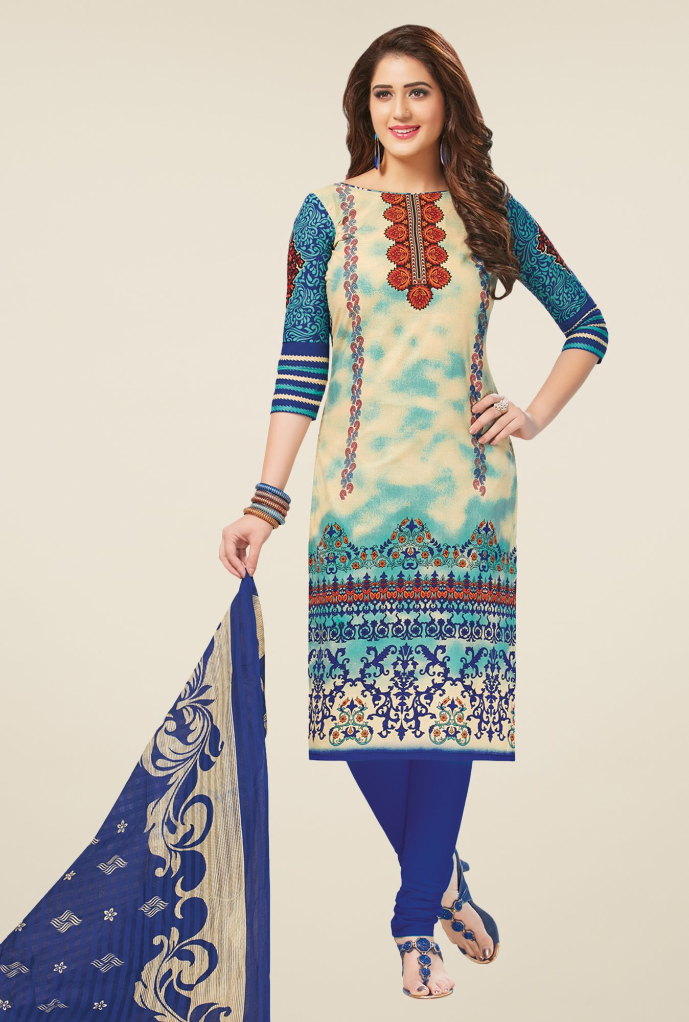 Salwar Studio Beige & Blue Printed Dress Material