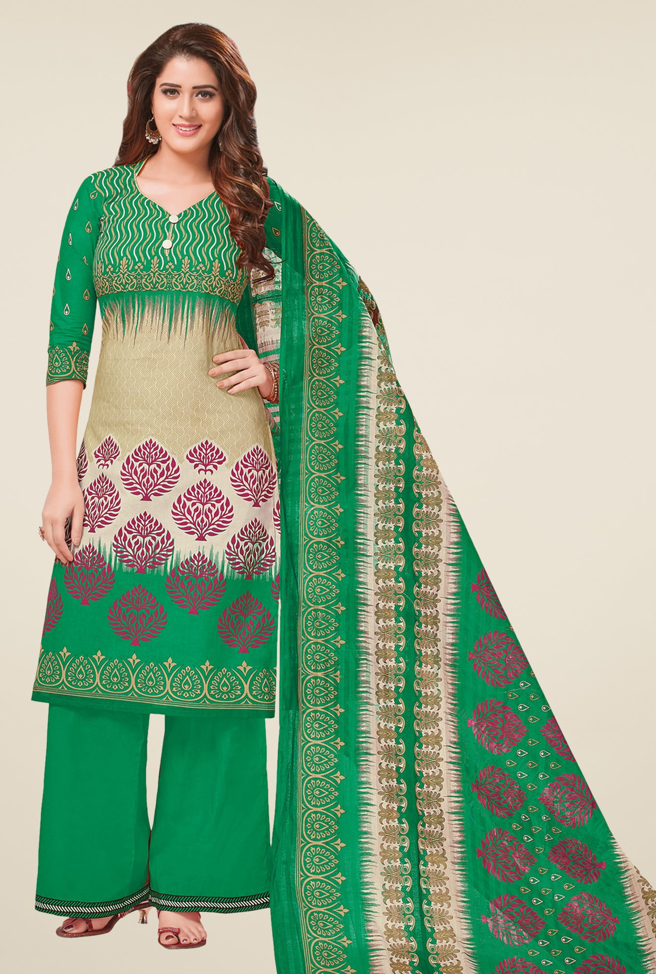 Salwar Studio Green & Beige Printed Dress Material