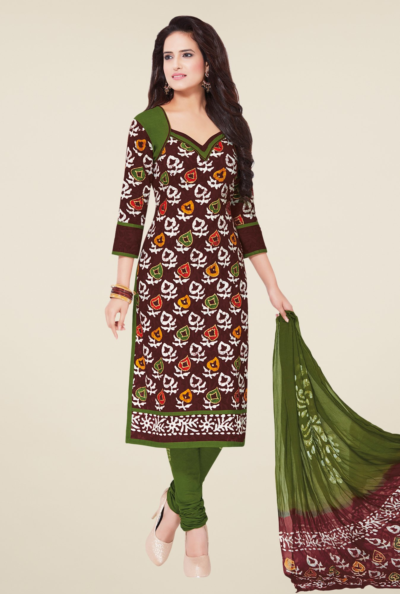 Salwar Studio Brown & Olive Batik Print Dress Material
